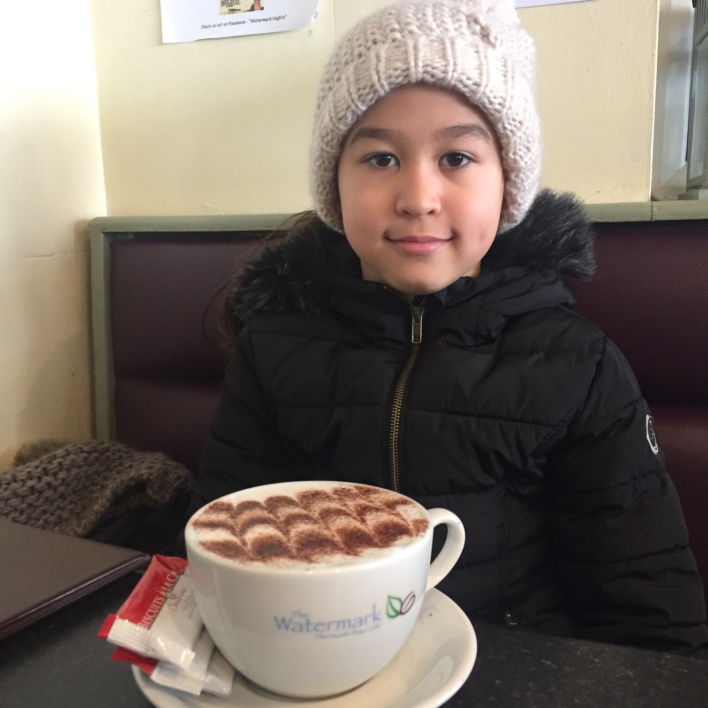 My daughter, Amy <3 (with a BIG cup of hot chocolate!)