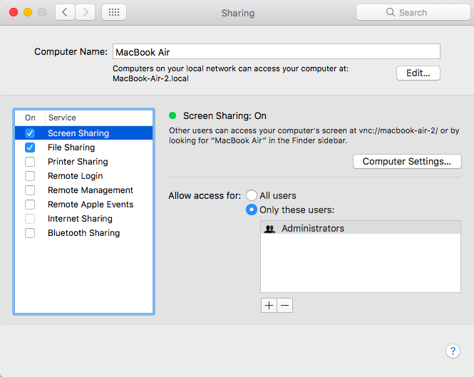 Turn on Screen Sharing in your Mac's System Preferences
