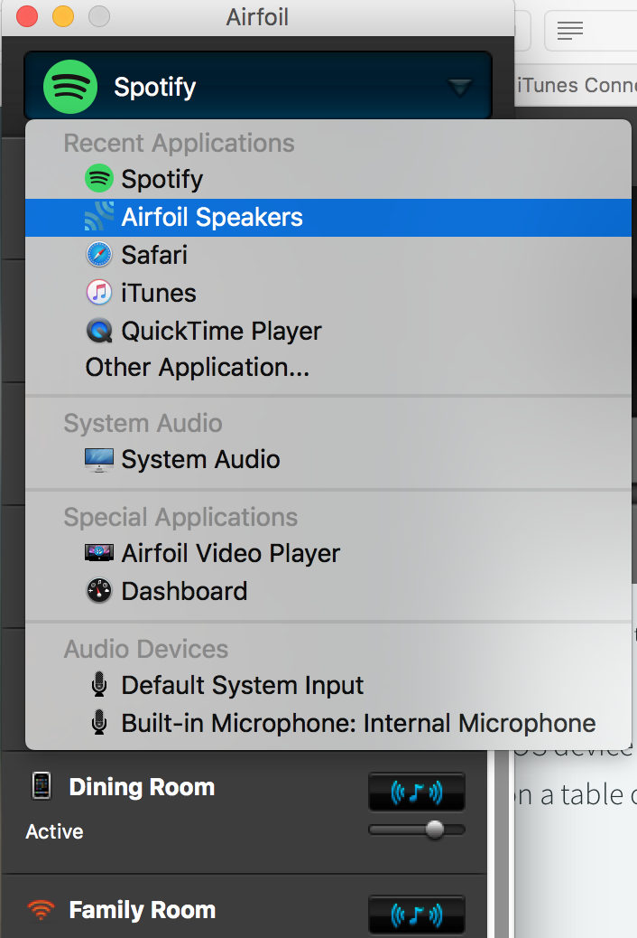 """Click the top of the AirFoil window to select the audio source. You want to choose AirFoil Satellite (Speakers in my case). You may have to click """"Other Application"""" and locate it in Finder if it's not in the list."""