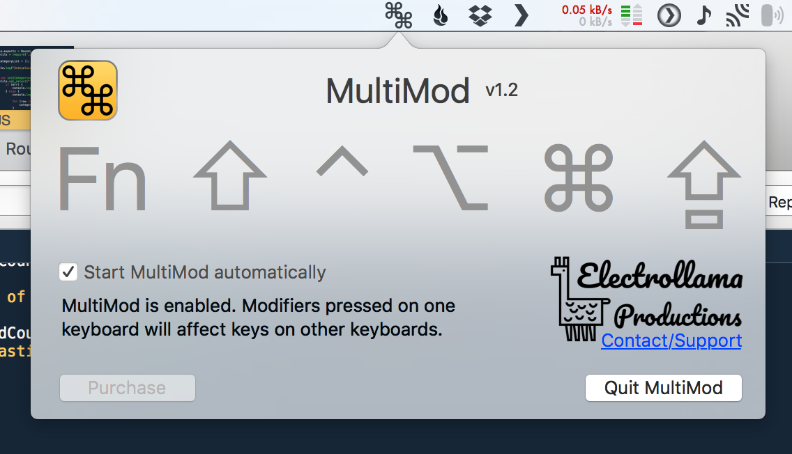 MultiMod sits unobtrusively in your menu bar, and uses minimal system resources.