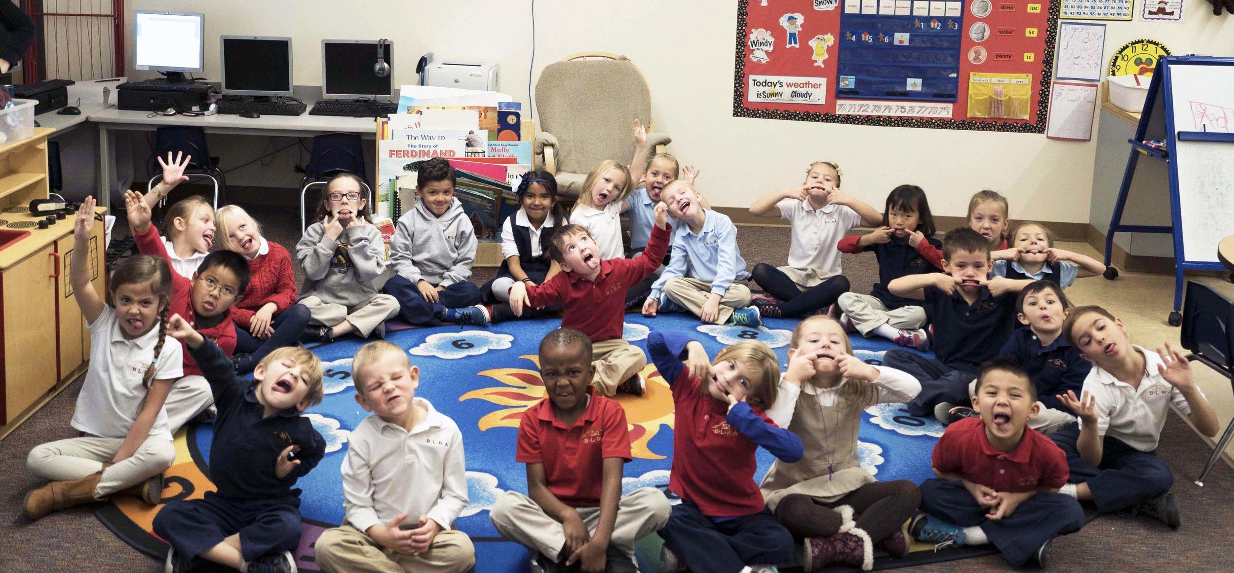Kindergarten Students Sitting on Carpet