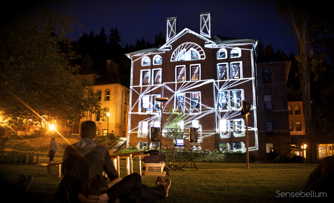 Huge outdoor projection mapping on Old Main at Western Washington University in Bellingham
