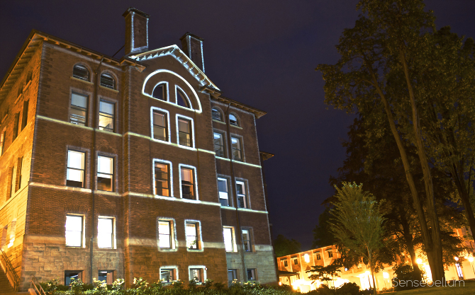 Massive outdoor projection mapping of visuals for Western Washington University in Belligham