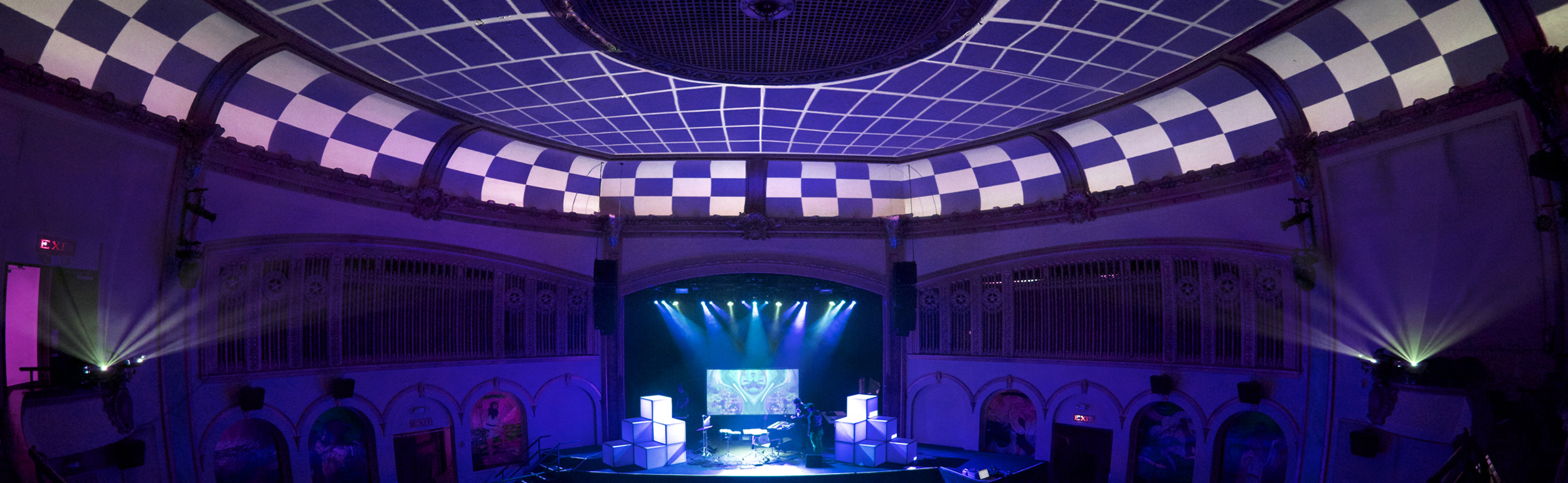 Projection mapping setup inside the neptune theater for the manatee commune show