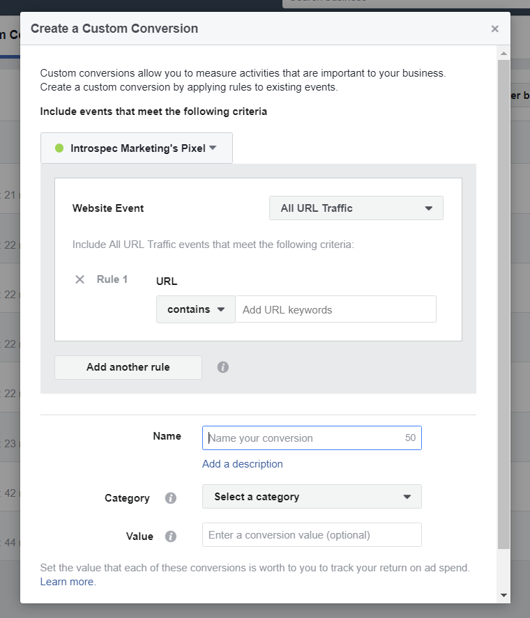 Create a custom conversion Facebook pixel funnels.PNG