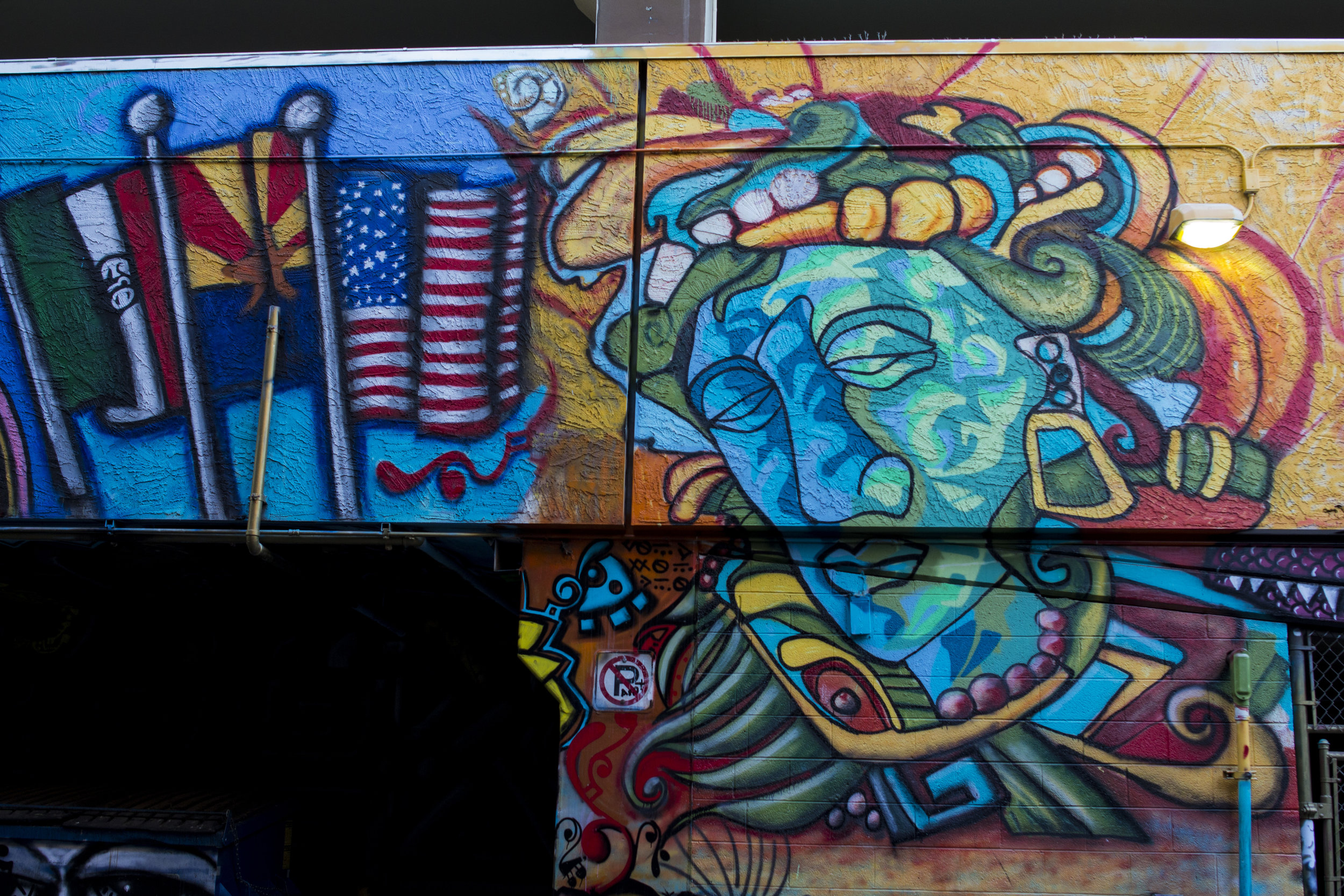 A piece of the mural by Roman P. Reyes. Photo by Brandon Salaz.