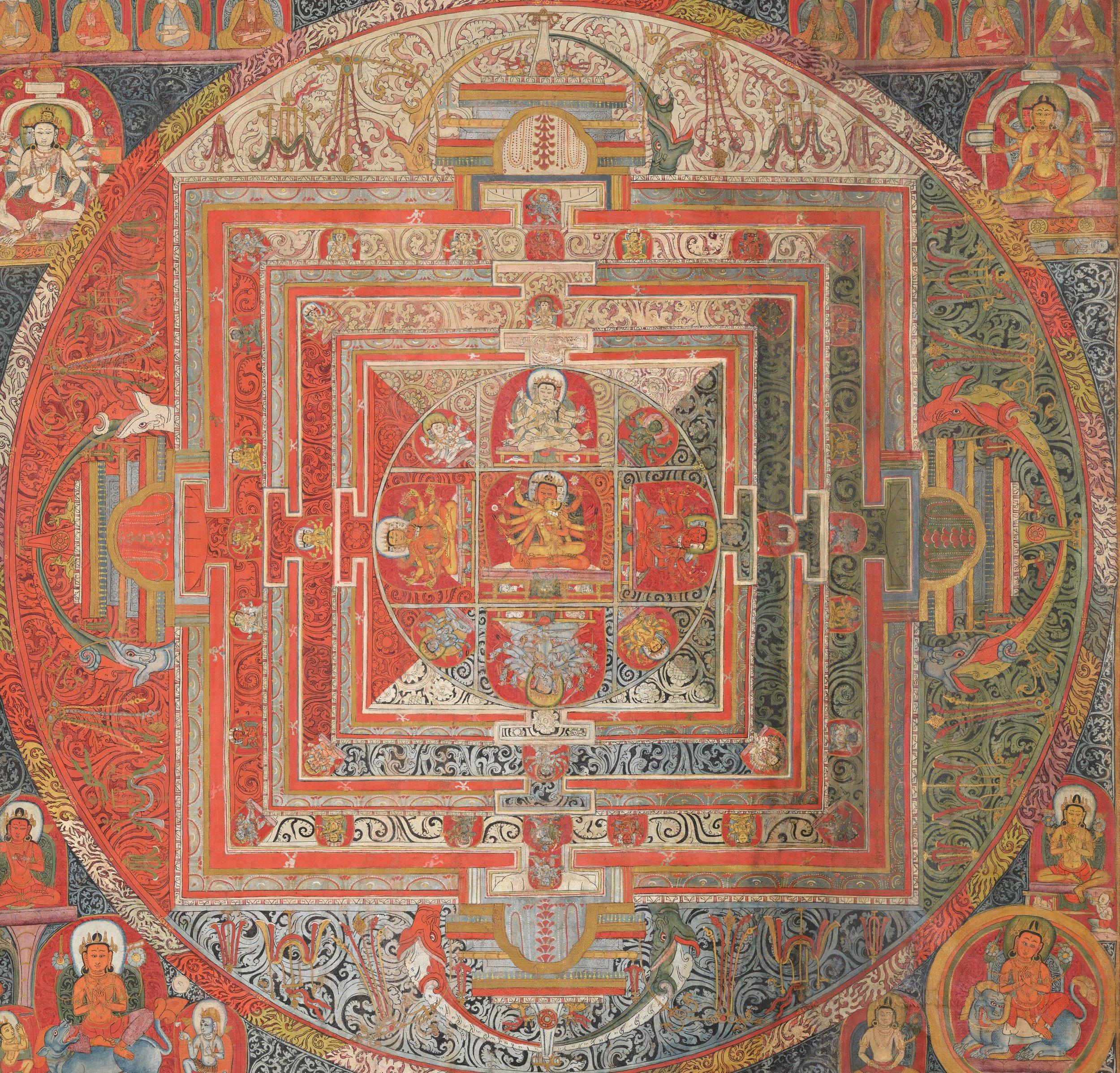 Manjuvajramandala with 43 deities, from Tibet. Tempera on cotton.{{ PD-US }}