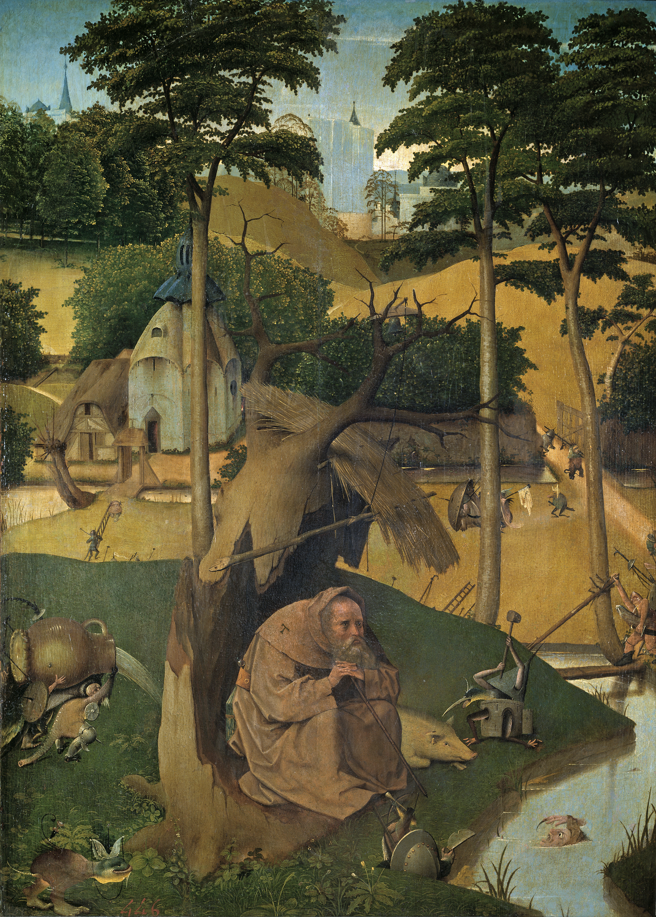 Hieronymus Bosch, or follower (c. 1450-1516),  The Temptation of St. Anthony  (c. 1500-1525), oil on panel, 73 x 52.5 cm. Museo del Prado, Madrid. Wikimedia Commons.