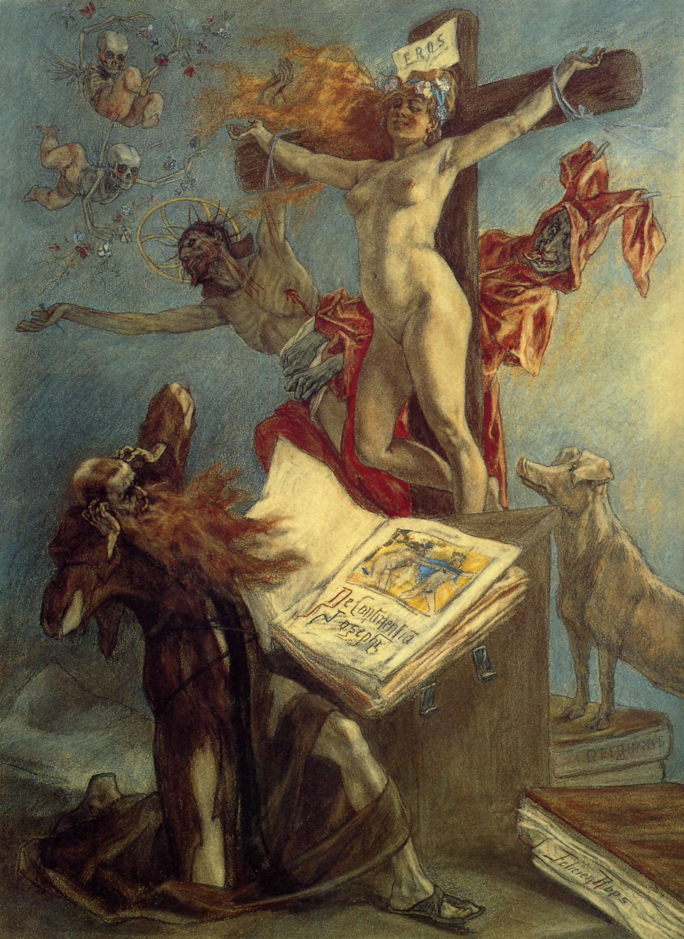 Félicien Rops (1833-1898),  The Temptation of Saint Anthony  (1878), pastel and gouache on paper, 73.8 × 54.3 cm. Cabinet des estampes, Bibliothèque Royale Albert Ier, Brussels. Wikimedia Commons.