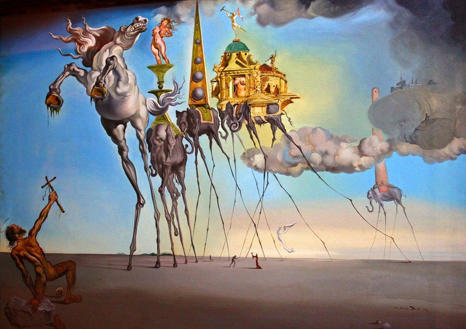 Salvador Dalí (1904-1989),  The Temptation of St Anthony  (1946), oil on canvas, 119.5 x 89.7 cm.Musée Royaux des Beaux-Arts, Brussels. Copyright Salvador Dalí, Fair Use.