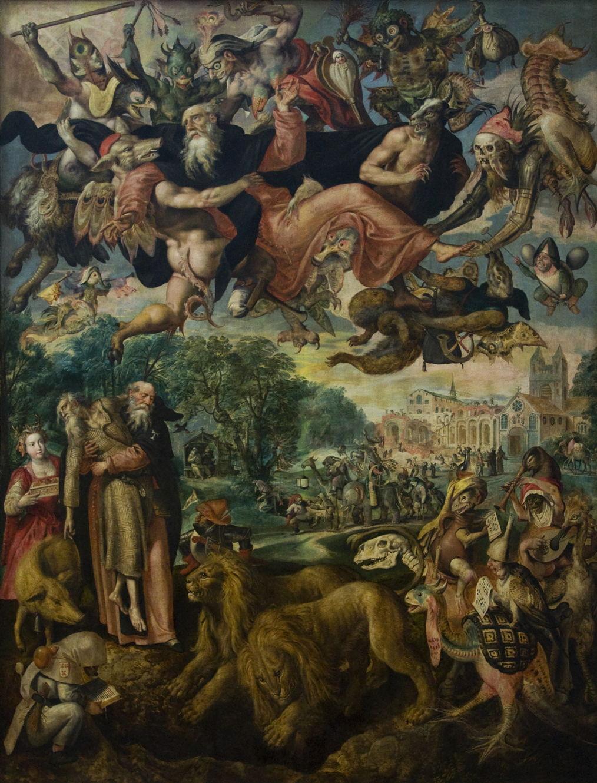 Maerten de Vos (1532-1603),  The Temptation of Saint Anthony  (1591-4), oil on panel, 280 x 212 cm. Koninklijk Museum voor Schone Kunsten, Antwerp. Wikimedia Commons.