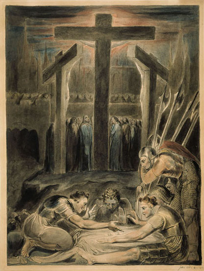 The Soldiers Casting Lots Over Christ's Garments  by William Blake (1800). Pen, wash, ink, and watercolor on paper. Fitzwilliam Museum (University of Cambridge), Cambridge, UK