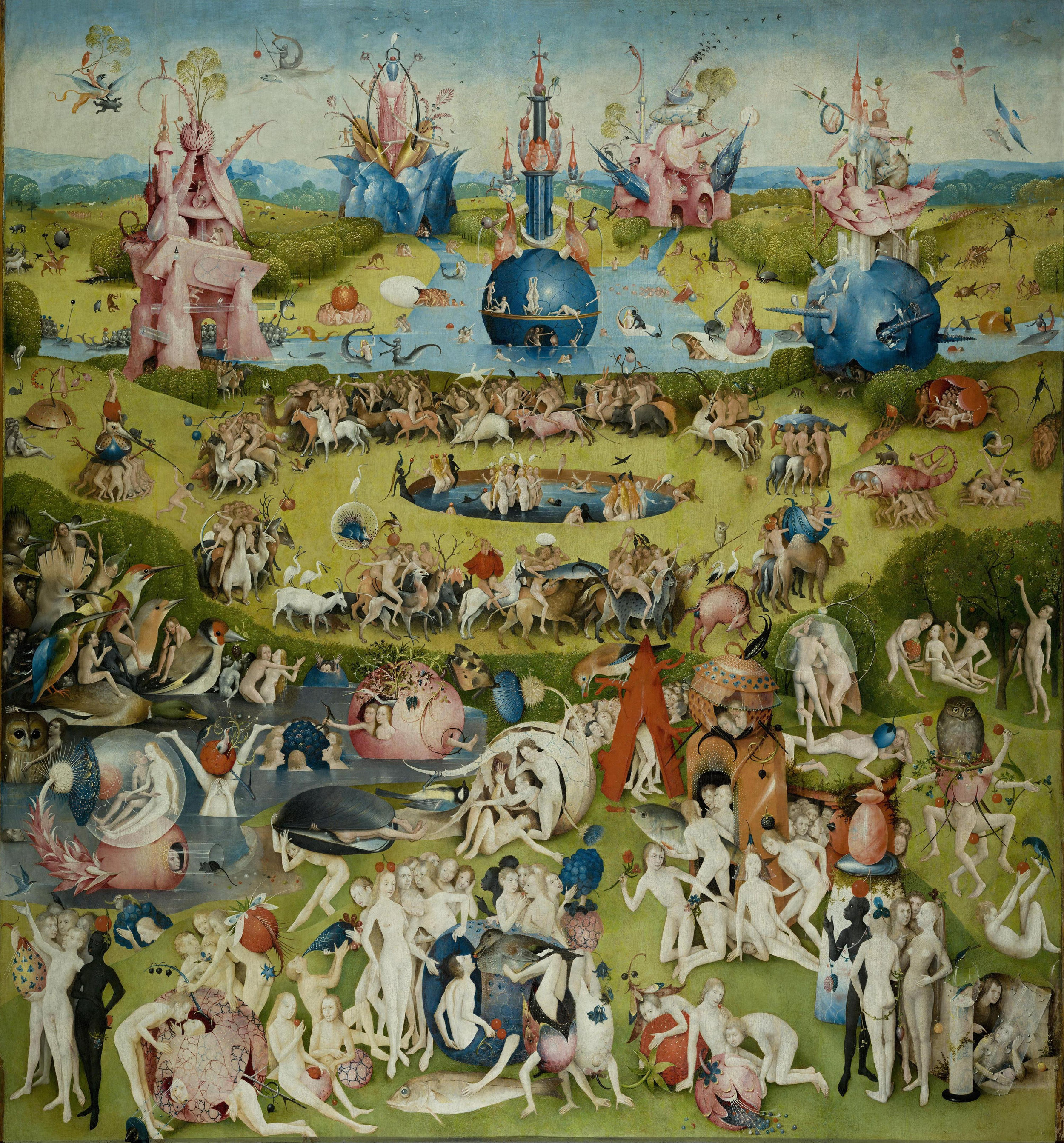 The center panel of the triptych  The Garden of Earthly Delights  (1490-1510) by Hieronymus Bosch. Oil on Oak Panel.