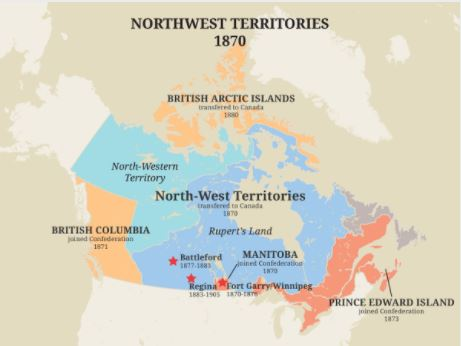 The North-West Mounted Police were deployed in Rupert's Land to ease northern tensions. They acted as a model for the Royal Canadian Mounted Police.  Photo credit:  The Canadian Encyclopedia