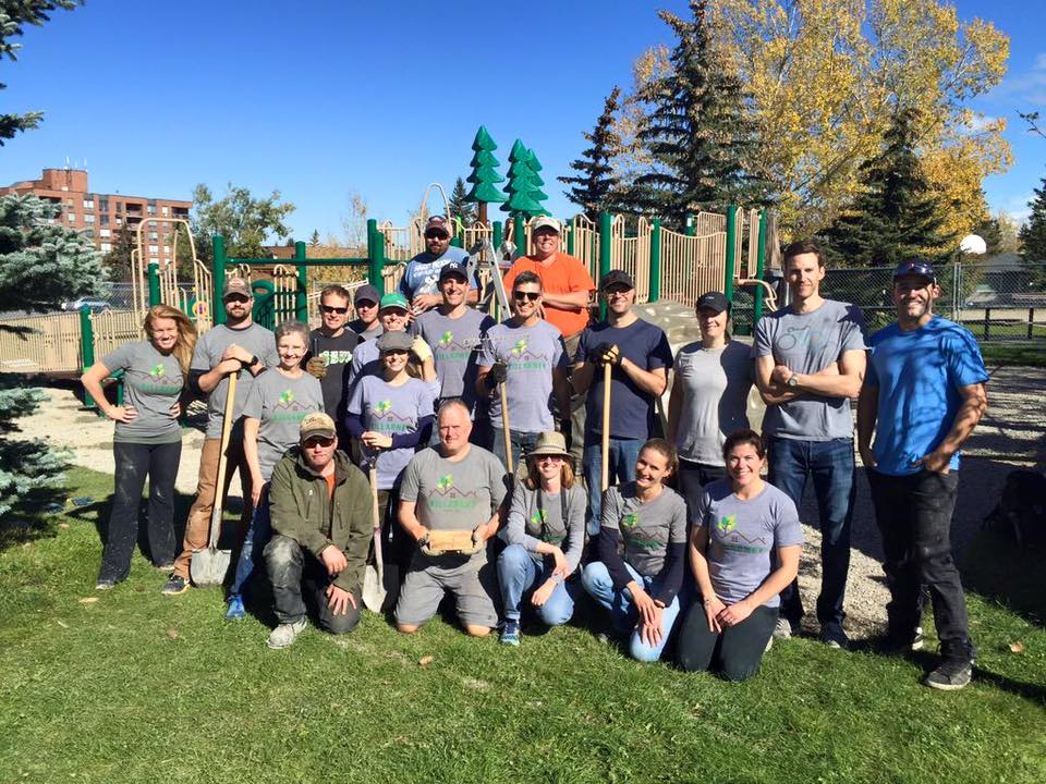 Board and volunteer members came together to complete the final phase of the Killarney pool playground in 2015.