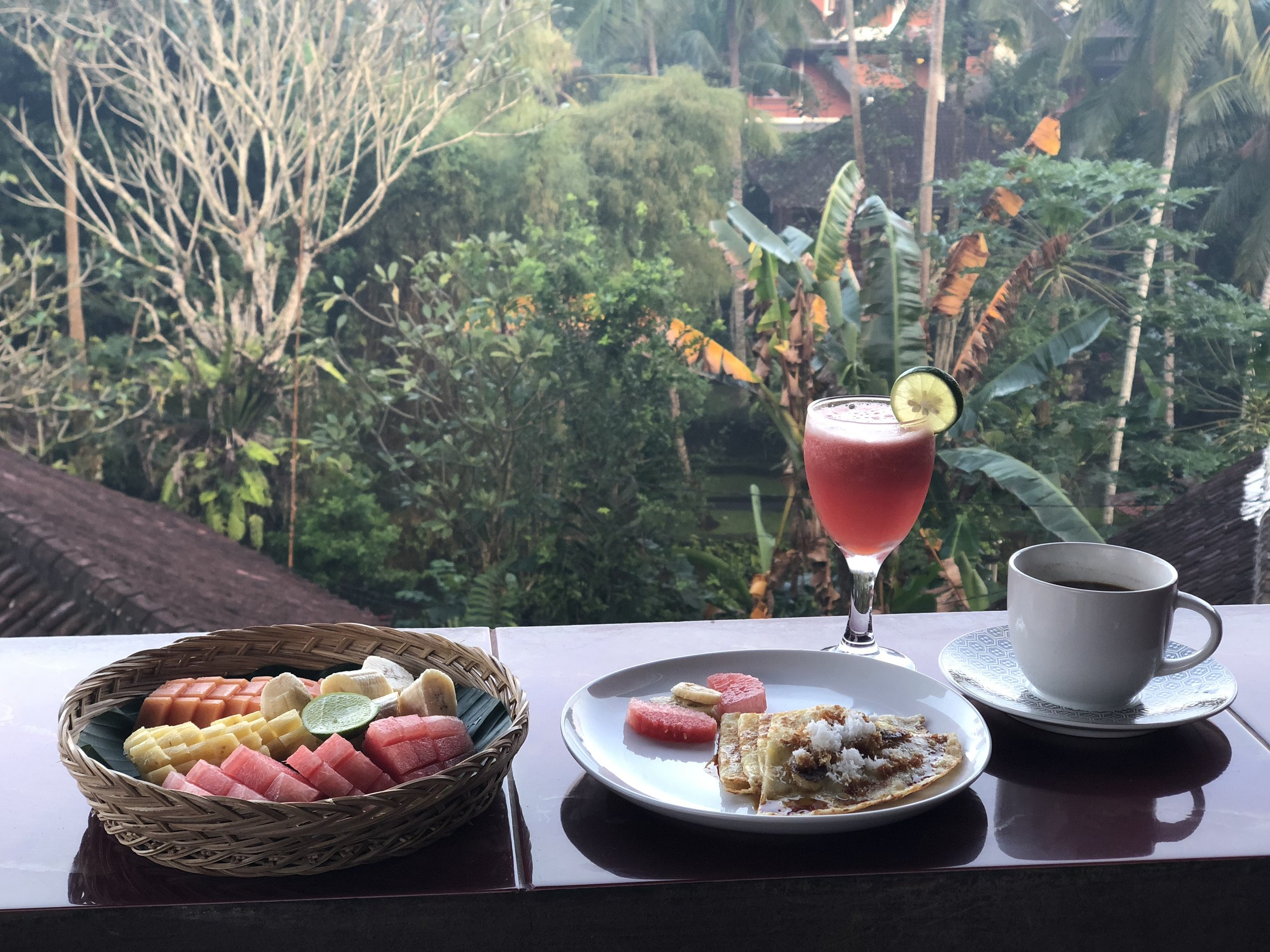 Breakfast Room-Service included everyday... hello breakfast-in-bed... or enjoy on your private balcony... or by the beautiful pool! Delicious food is available to order throughout the day as well- including vegetarian, vegan, and raw options. -