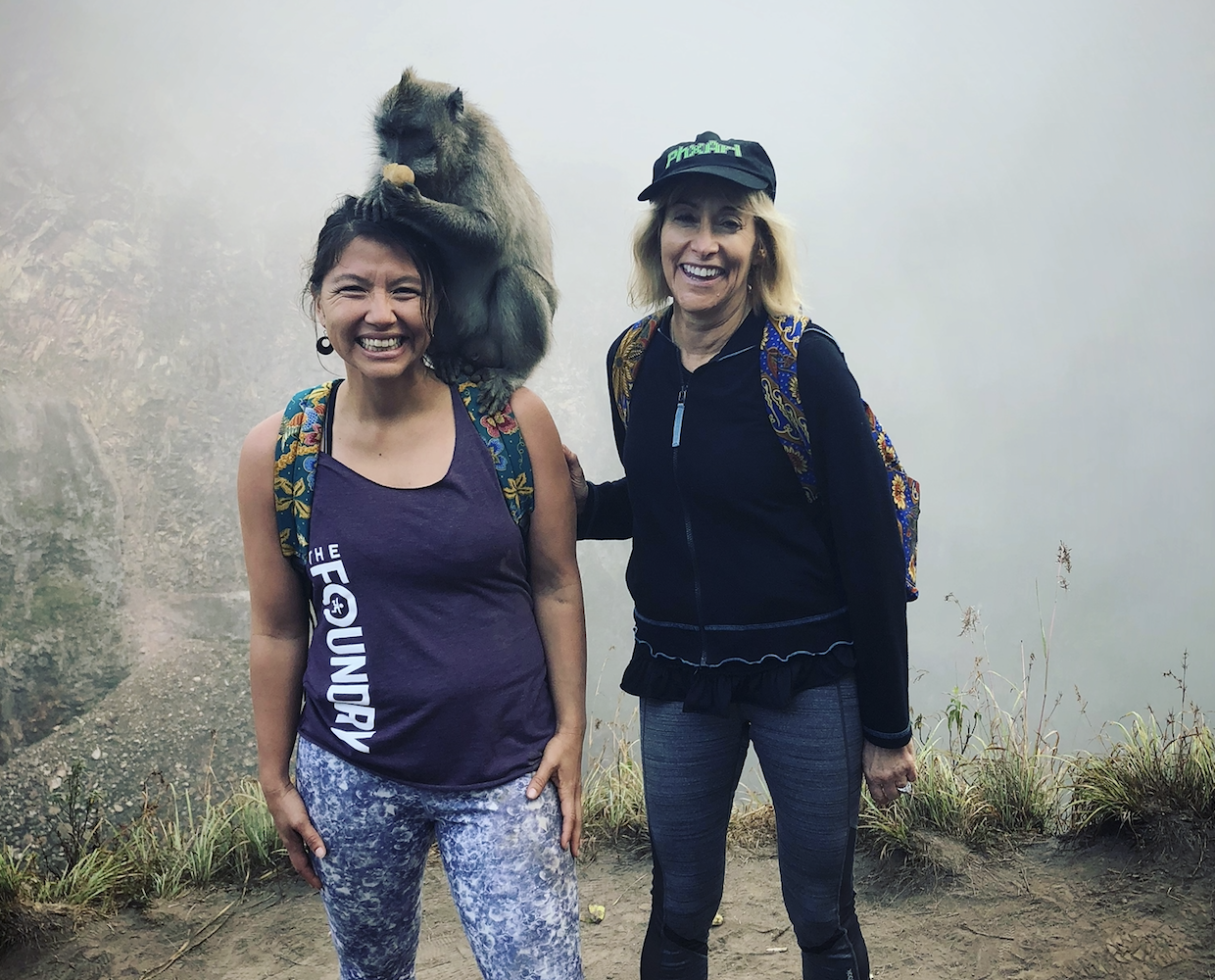 Sometimes you just gotta monkey around! Native greeters at the top of the volcano! -