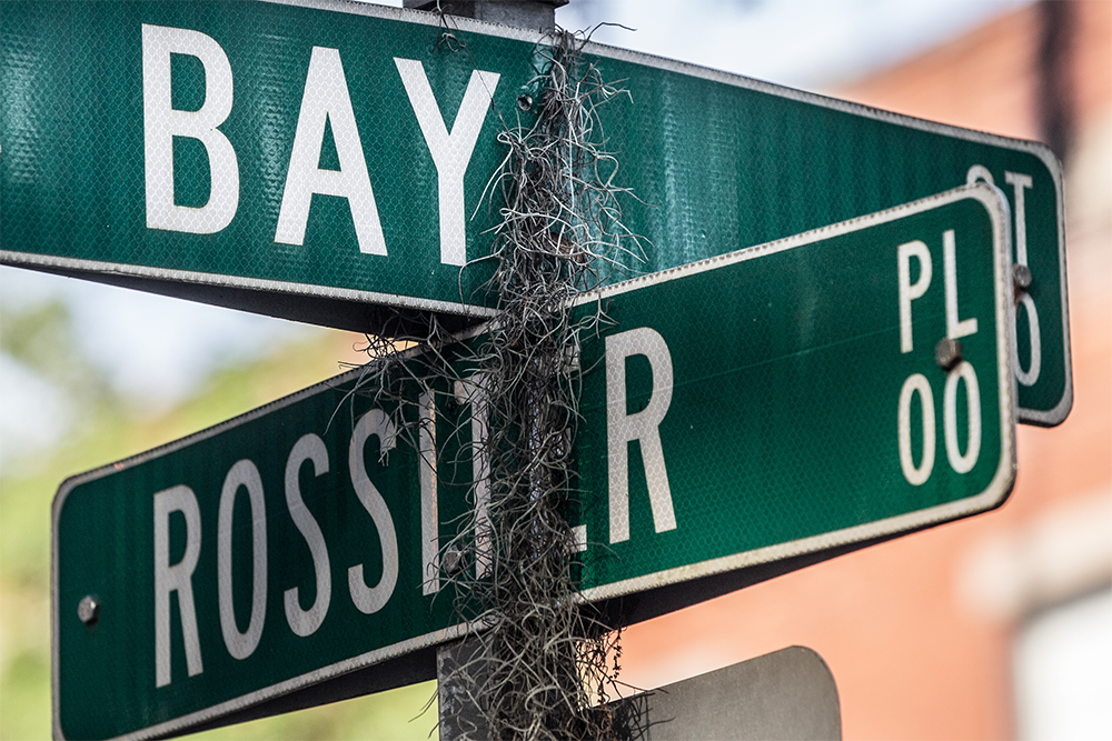 Spanish moss drapes itself over the sign at the corner of Bay Street and Rossiter Place in Savannah's Historic District. Patrick Rossiter emigrated from County Wexford to Savannah in 1850, and the street name honors his grandson, Francis Patrick Rossiter, Sr., longtime Mayor Pro Tem of the City of Savannah.
