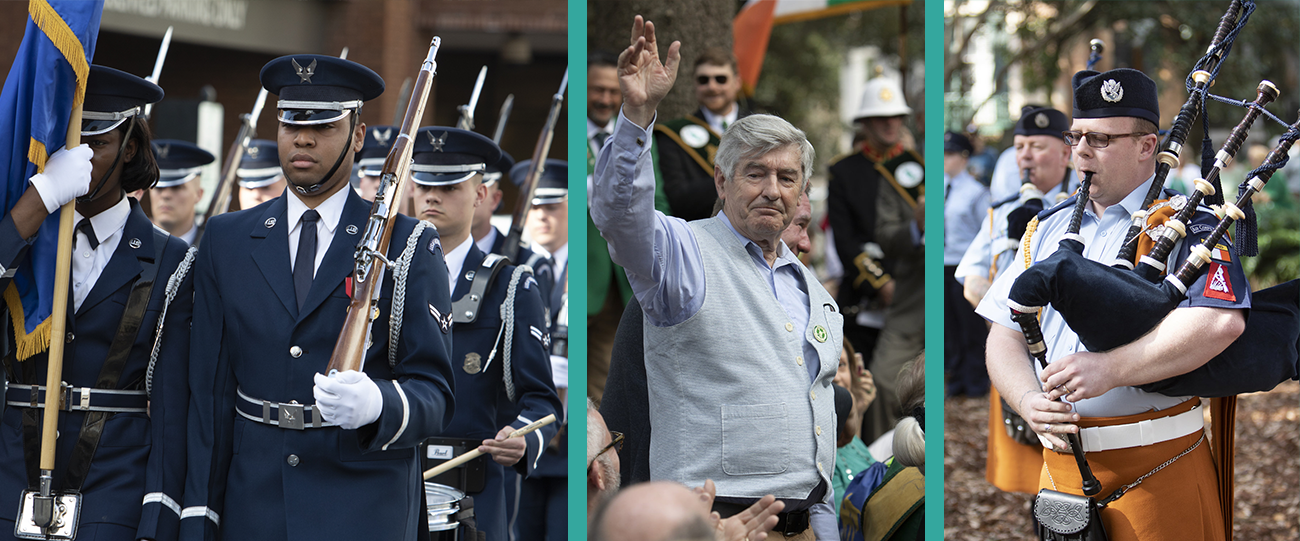 Above: Scenes from the William Jasper Ceremony. • Left: Members of the United States Air Force Honor Guard, based in Washington, DC, march to Madison Square, Savannah, venue for the Ceremony. • Center: Tony Dempsey, Mayor of Wexford Town, receives recognition from those attending the Ceremony in Madison Square. • Right: Members of the Irish Air Corps Pipe Band perform Ireland's national anthem as part of the Ceremony.