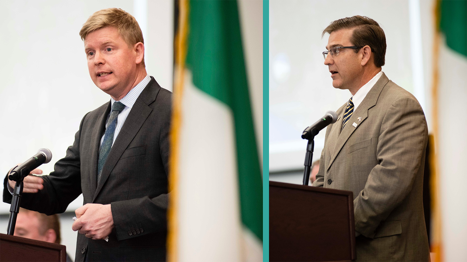 Above left: The podium speakers included    Shane Stephens   , Consul General of Ireland for the Southeastern United States. The Irish Government's Emigrant Support Program has provided $70,000 in funding for Georgia Southern students to research the historical connection between the County of Wexford and the City of Savannah. • Above right: Another podium speaker,    John Coleman   , represented the Savannah Economic Development Authority (SEDA), of whose Board of Directors he is Vice-Chair. Support from SEDA has been critical to TradeBridge, a initiative that advances trade and investment between Wexford-Southeastern Ireland and Savannah-Coastal Georgia.