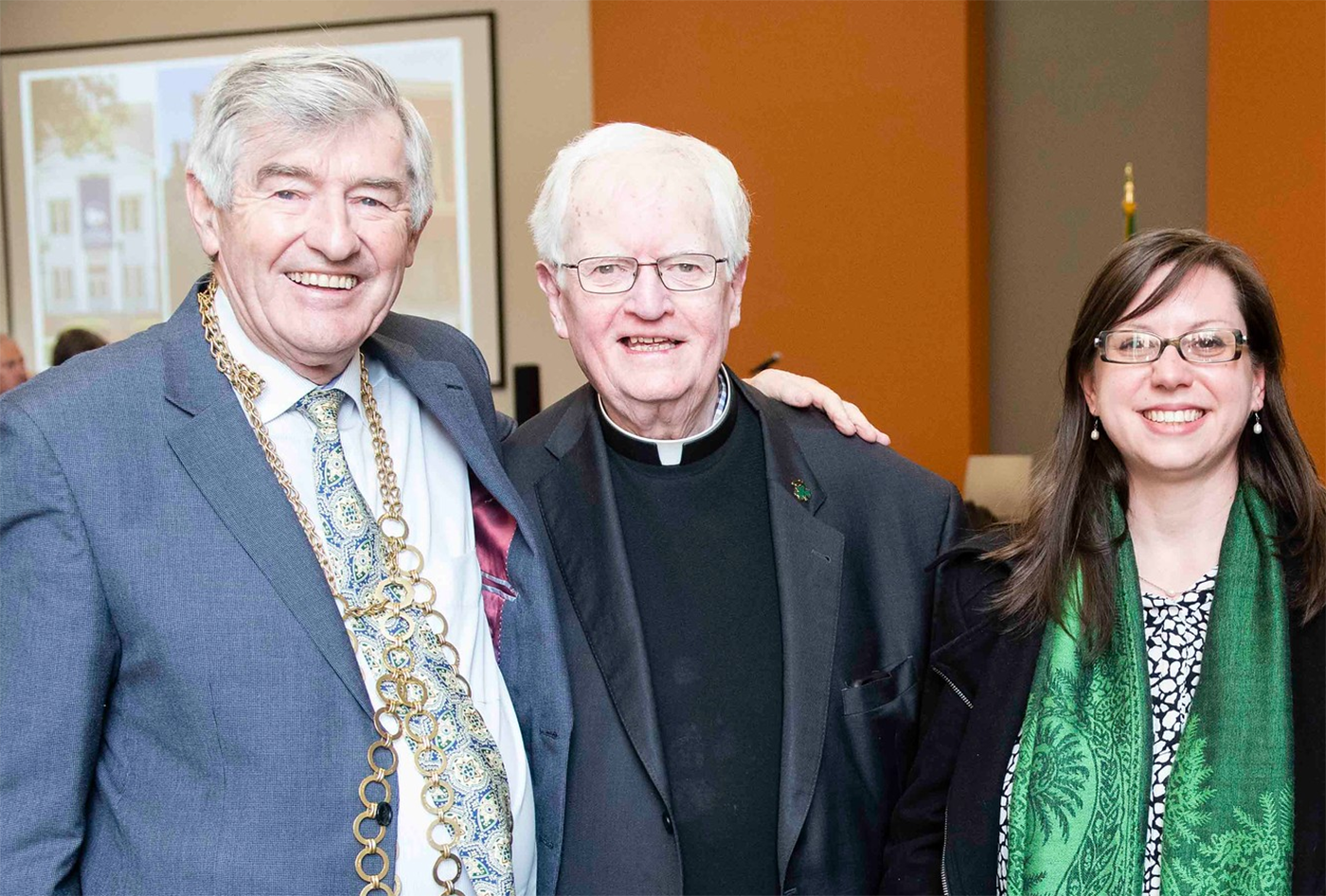 Above: Wearing his chain of office, the Mayor of Wexford Town,    Tony Dempsey    (left), connects with the Bishop Emeritus of the Diocese of Savannah, Most Rev.    J. Kevin Boland    (center), and the Director of the Diocesan Archives,    Katy Pereira    (right).