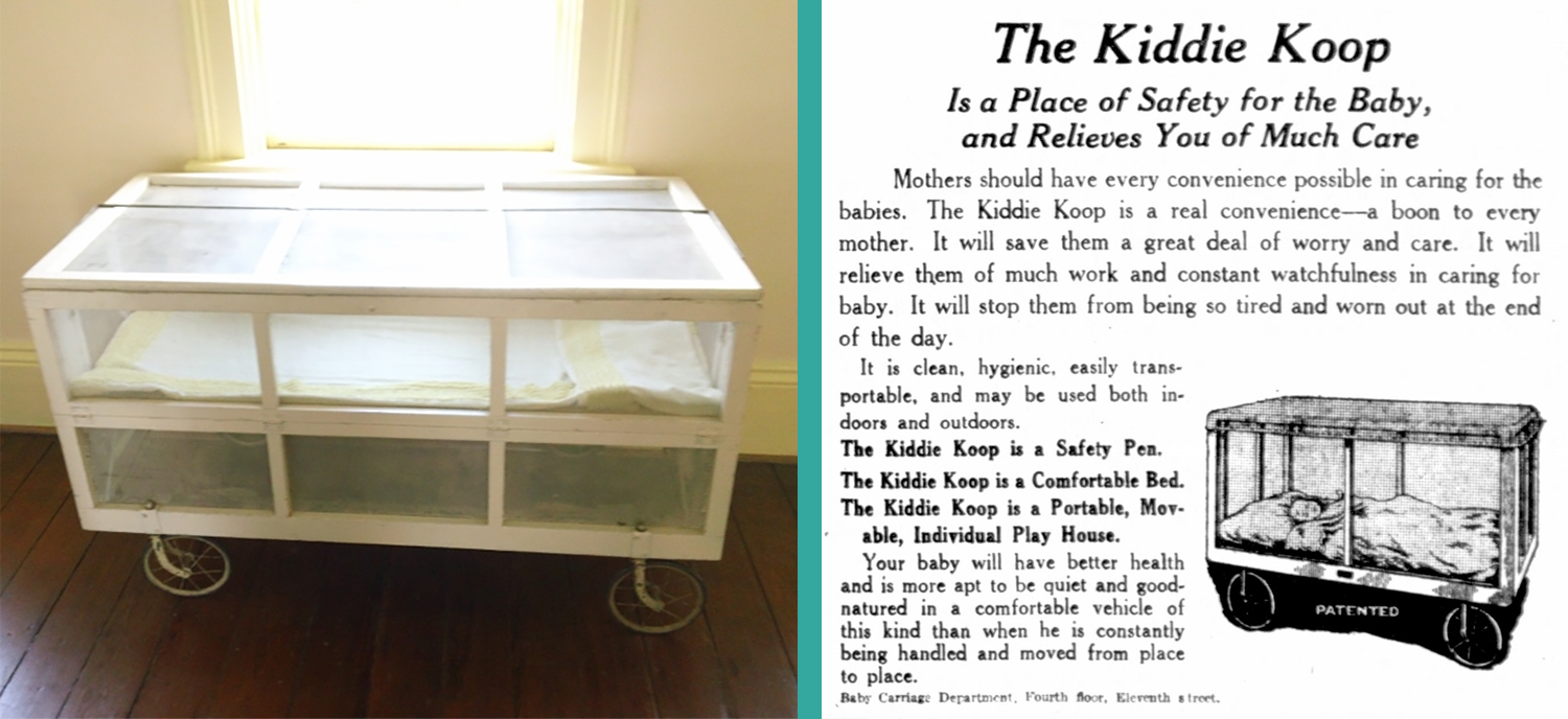 Above: The baby Flannery O'Connor slept and played in this Kiddie Koop, on display in the house-museum in Savannah.