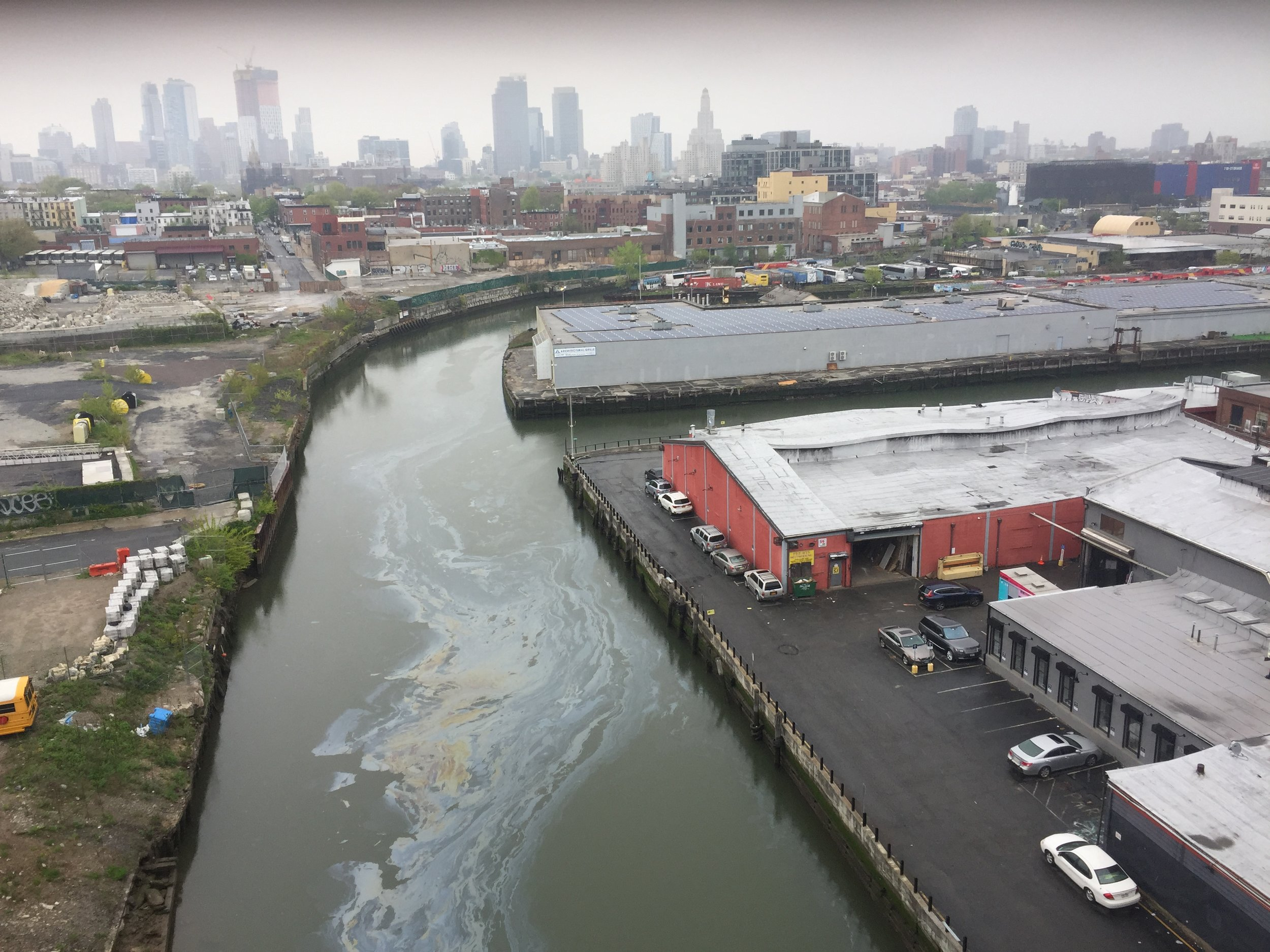 The view from Smith & Ninth Street Station - looking north along the Gowanus Canal towards downtown Brooklyn