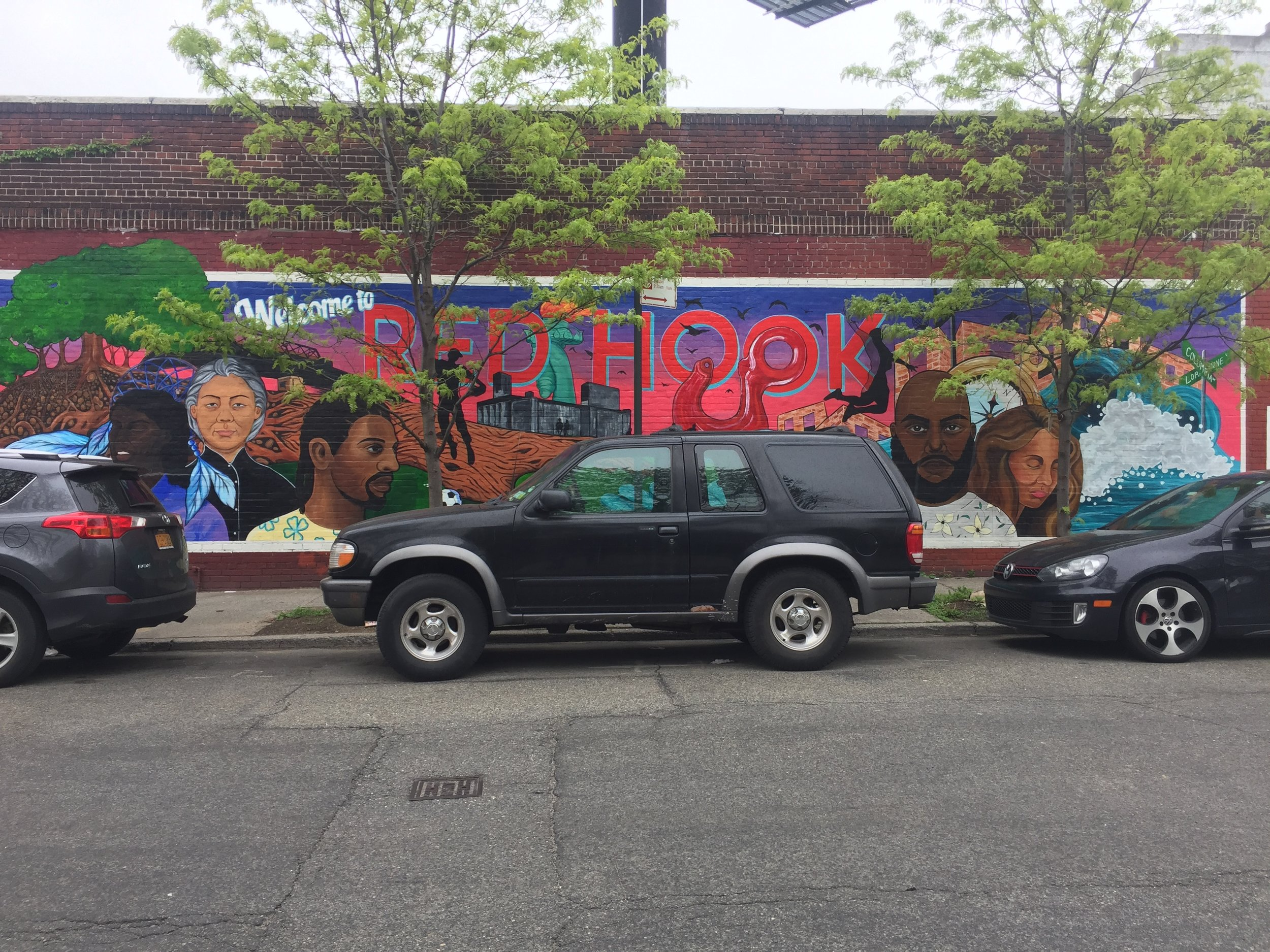 Mural opposite the New York Public Library in Red Hook
