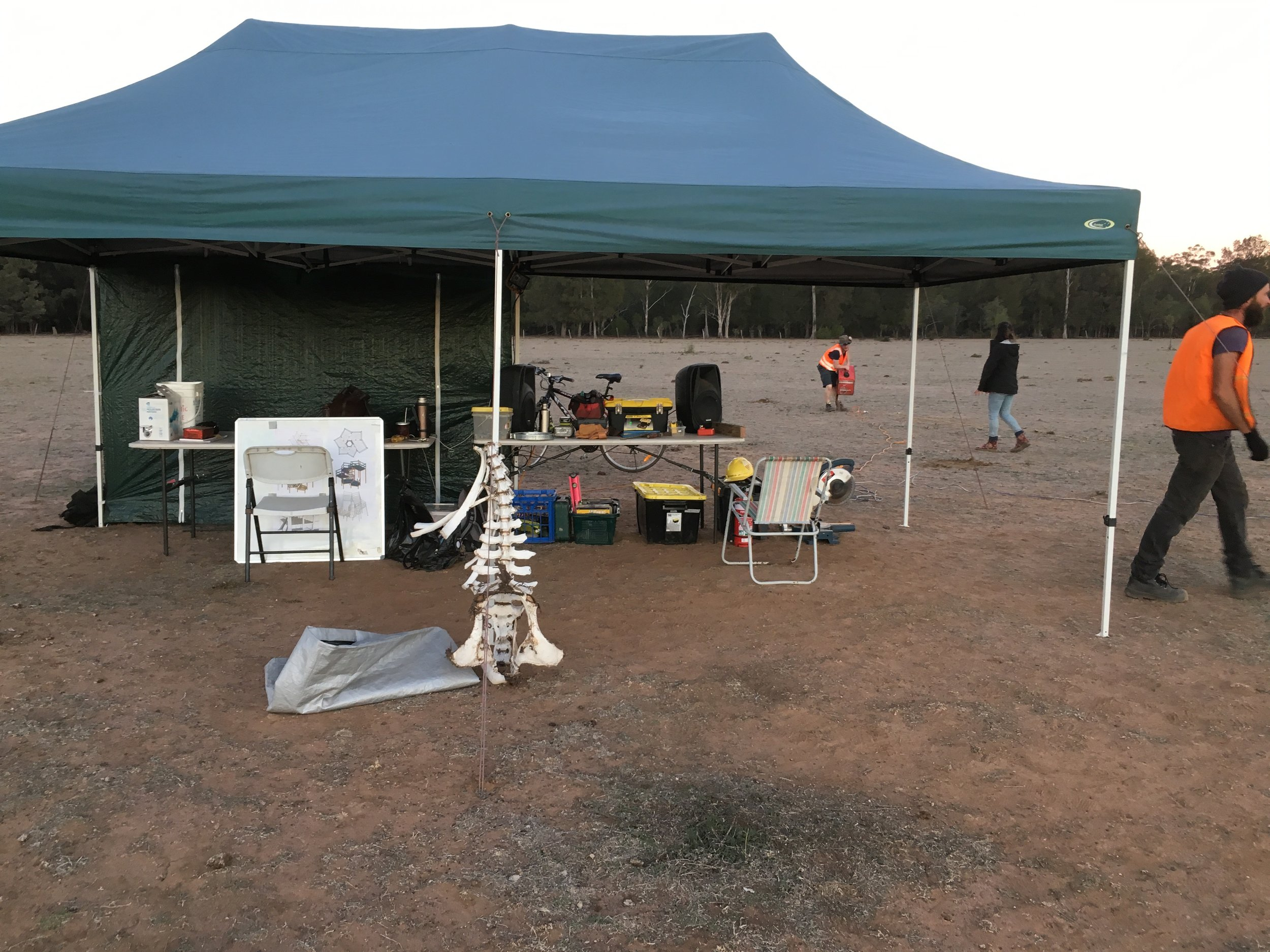 A more secure marquee, music to drown out the generator, and kangaroo bones to ward off the westerlies.