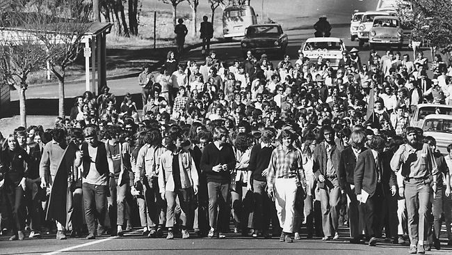 Students from the University of Queensland march for Civil Liberties on 8th September 1967.