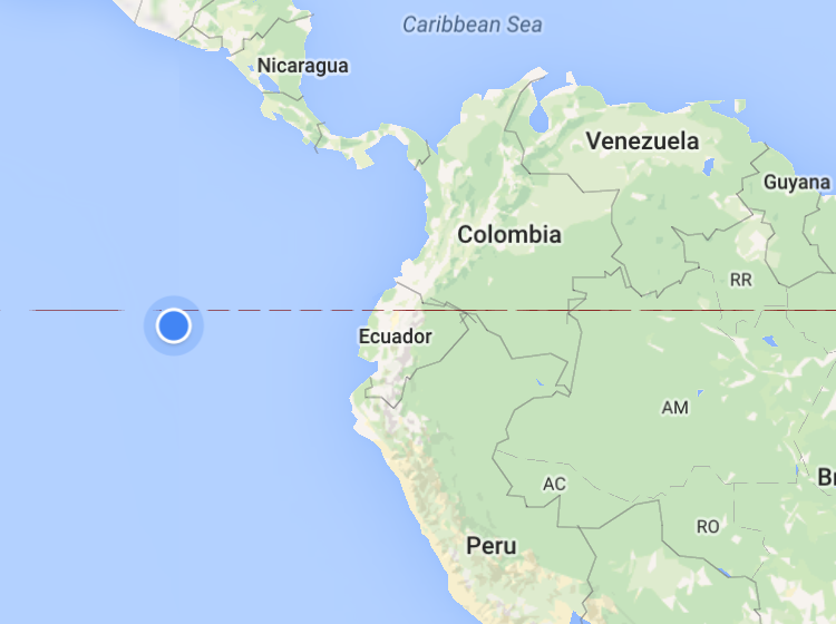 موقع الجزيرة كما تبدو في النقطة الزرقاء