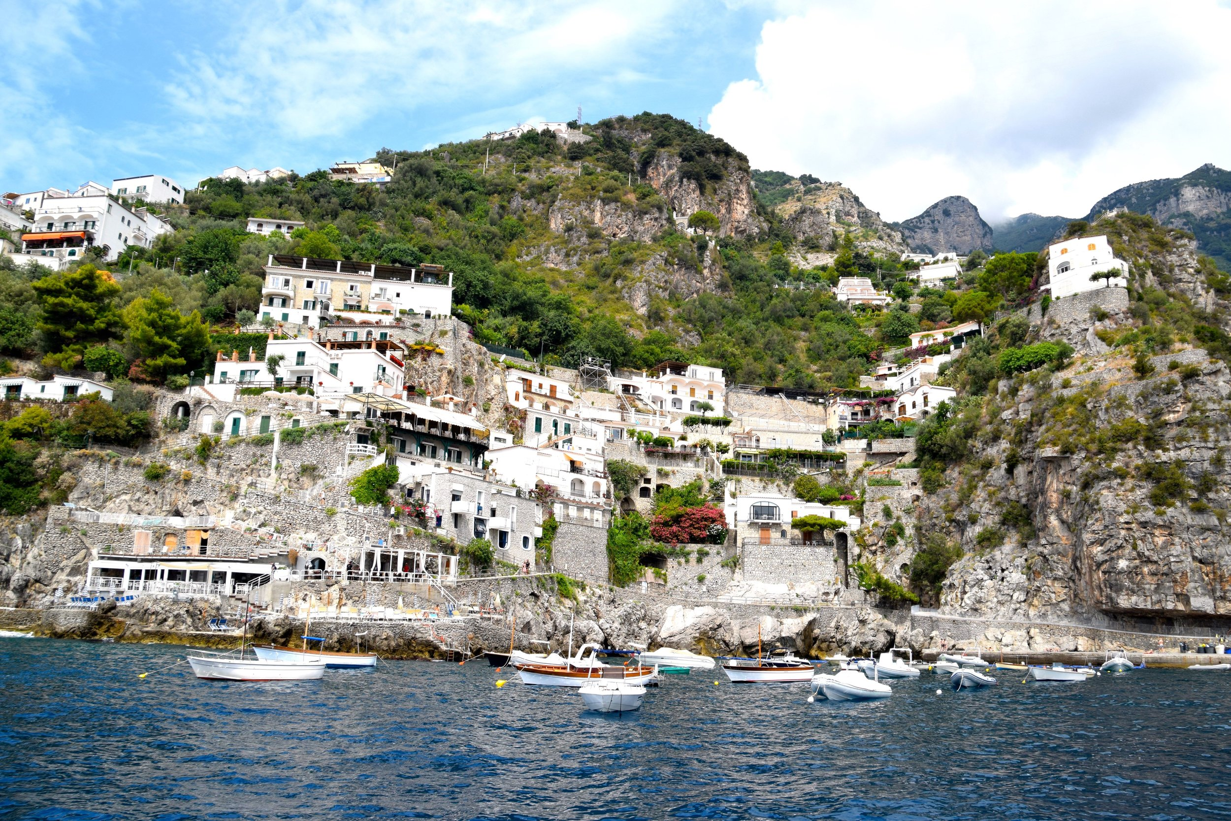 Views of a little coast town from our boat.