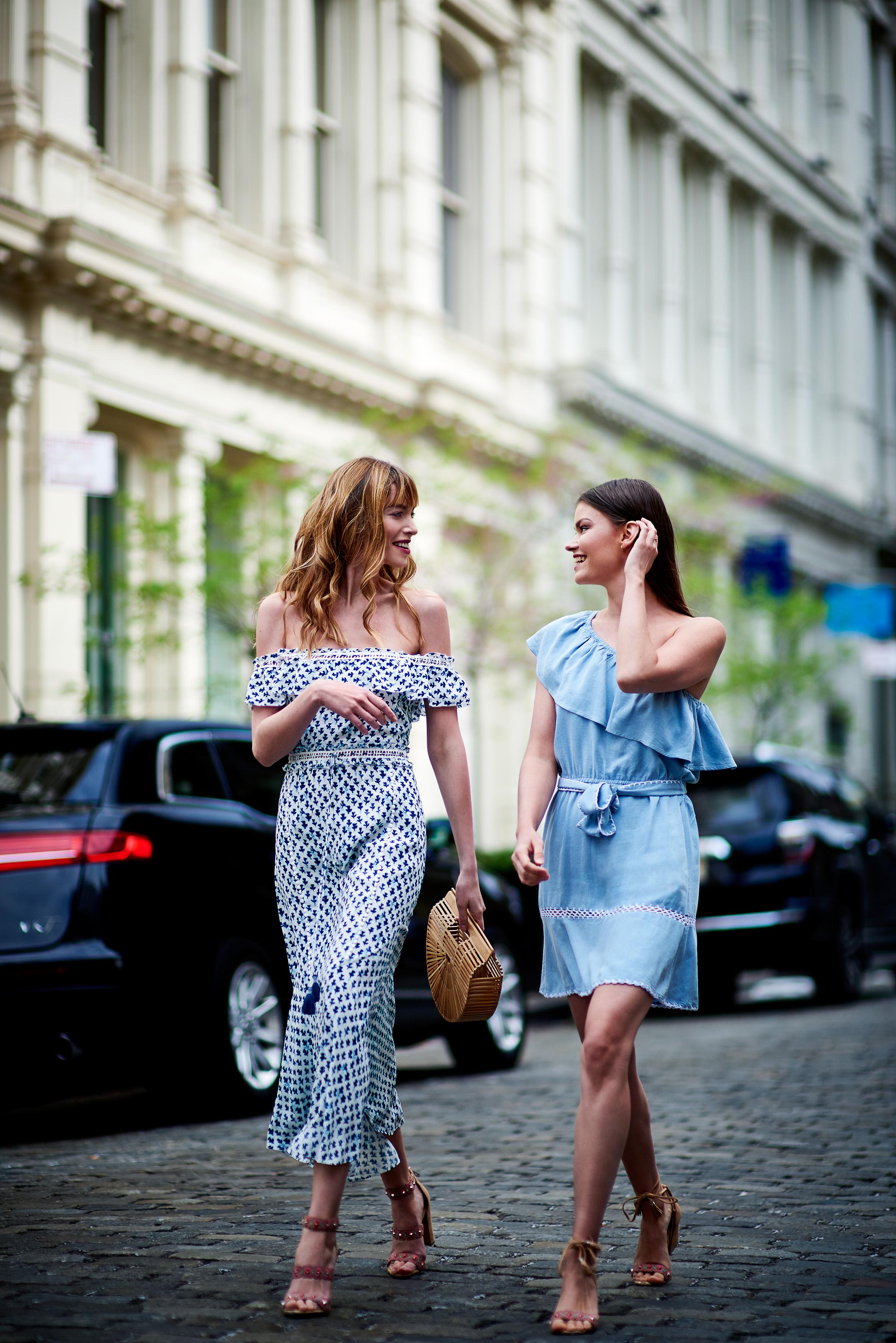 Juliette Off The Shoulder Maxi Dress With Tassels & Haney One Shoulder Denim Dress