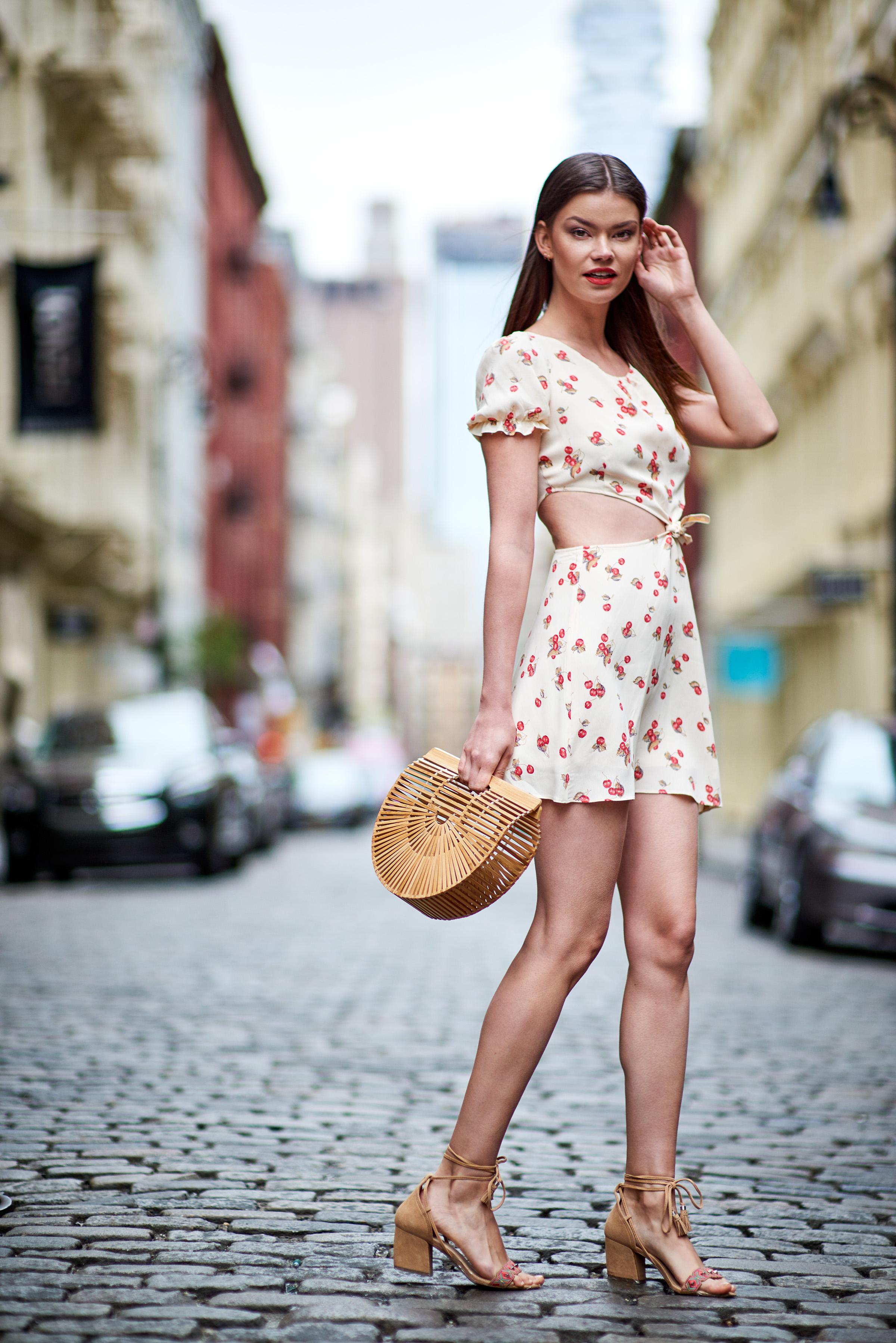 Cherry Waist Cut Out Dress - Creme