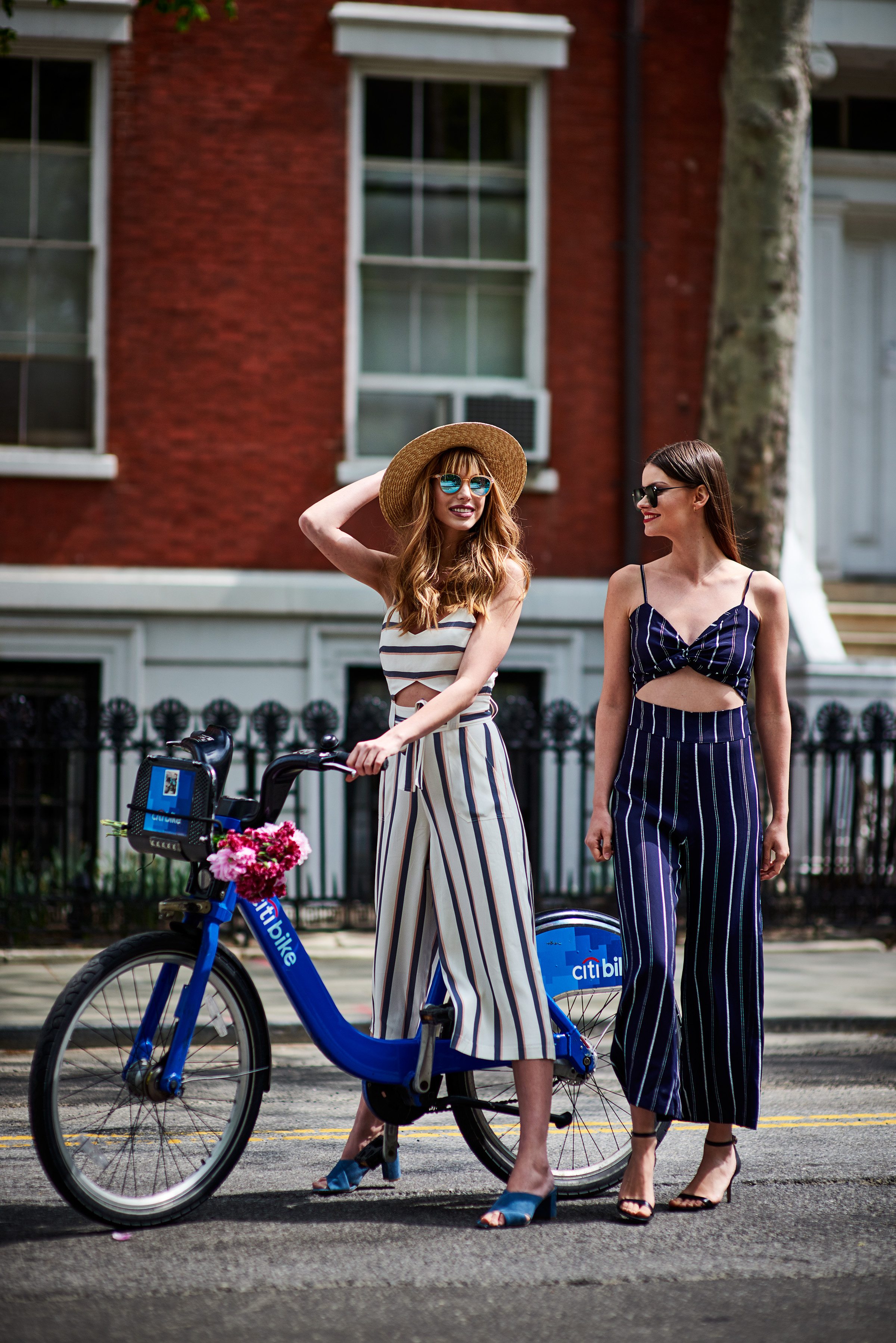 Liliana Stripe Jumpsuit & Bandwagon Sunglasses - Raw Sugar / Emily Stripe Jumpsuit & Prince Mirrored Aviator Sunglasses - Matte Black