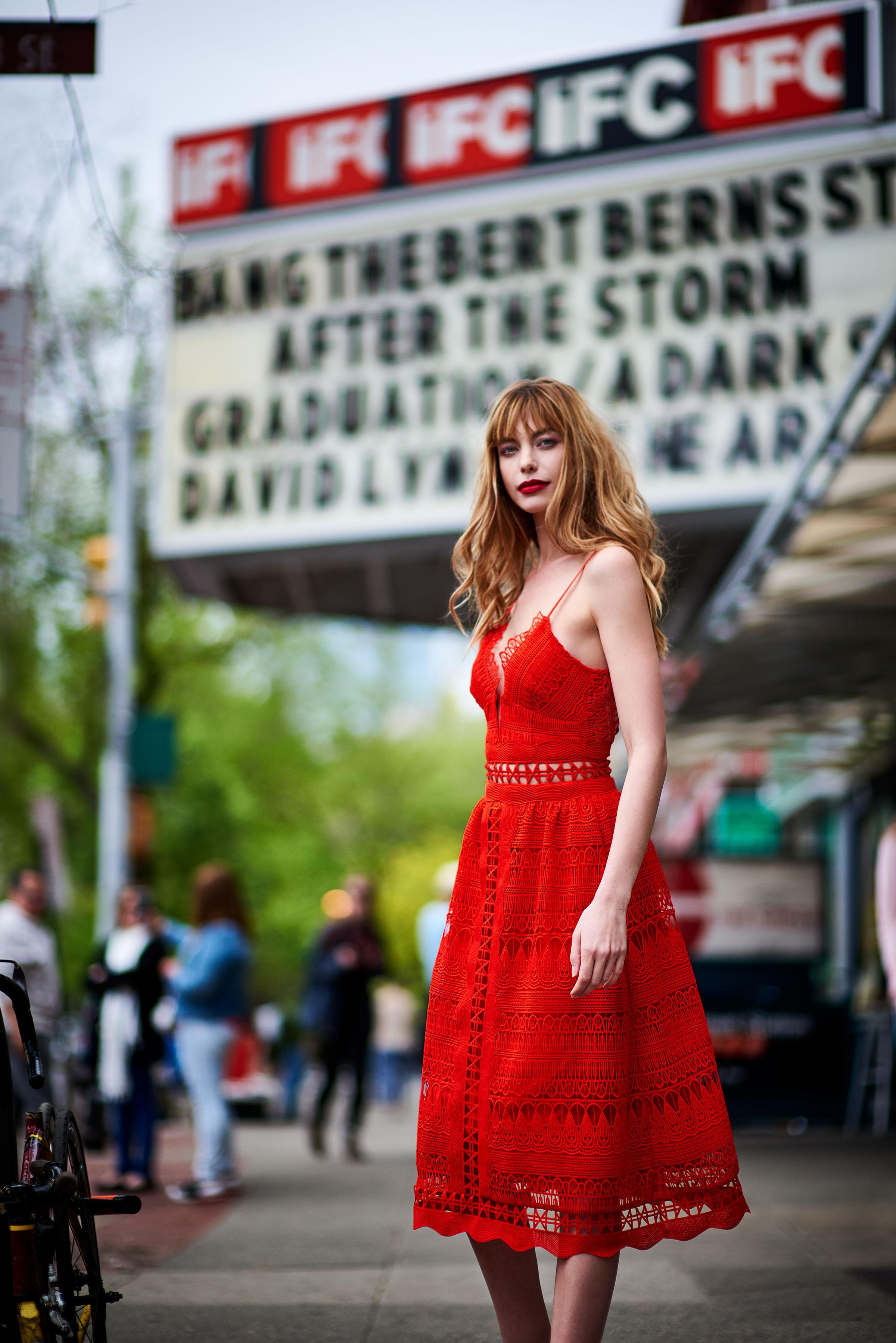 Phoebe Red Lace Midi Dress