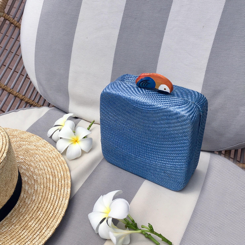 Grazya Straw Bun Bag - Light Blue