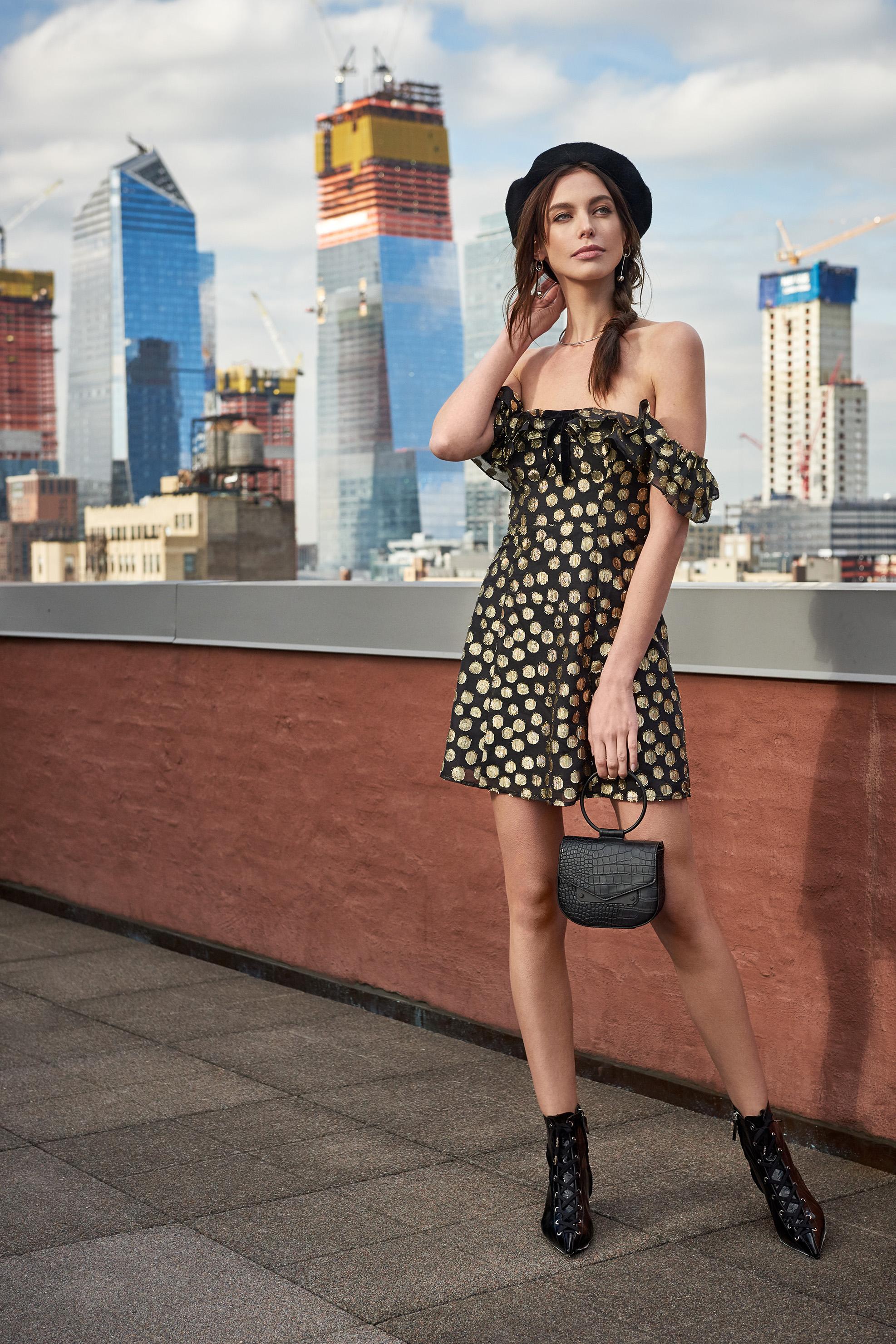 Lottie Polka Dot Ruffle Mini Dress & Ring Leader Croco Embossed Crossbody Bag & Isa Wire Choker - Rhodium