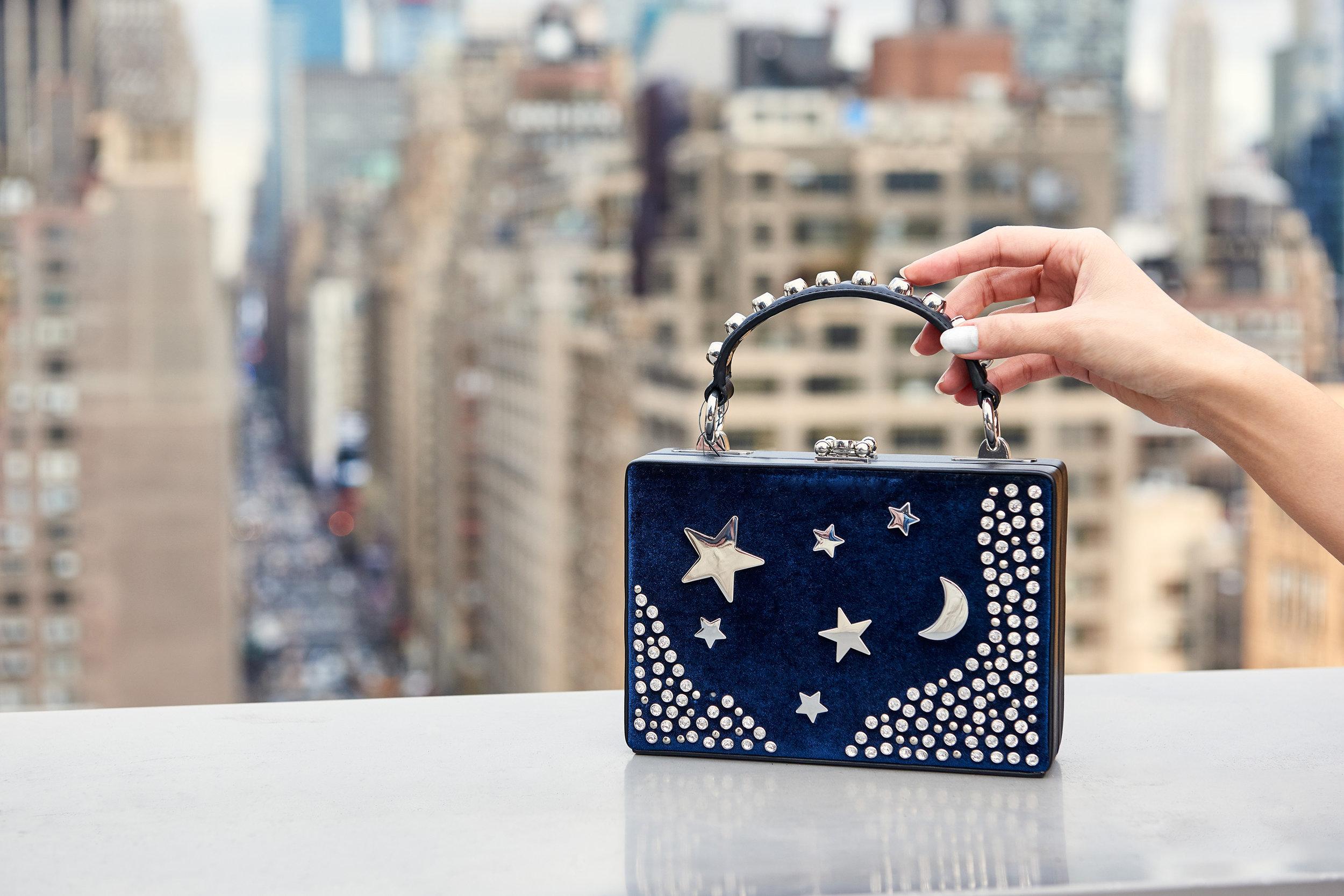 Girl Boxx Trunk Star And Moon Velvet Crossbody Bag