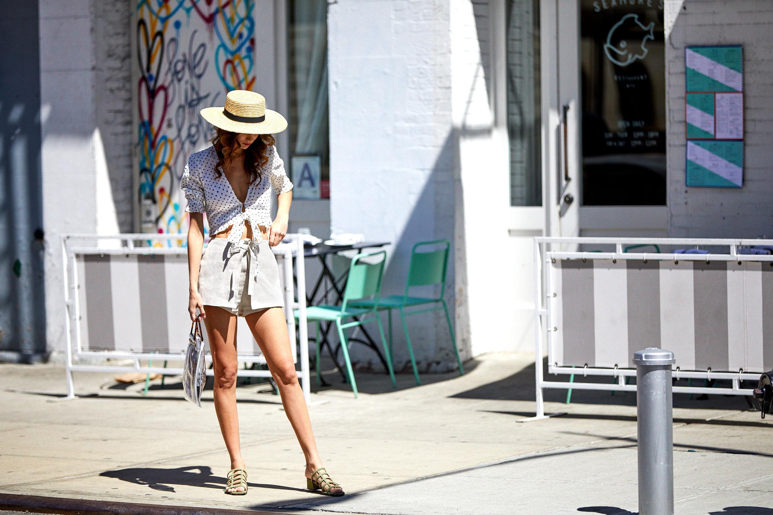 Petit Miam Polka Dot Tie Top & Ines Tie Shorts & Grid Green Suede Sandals