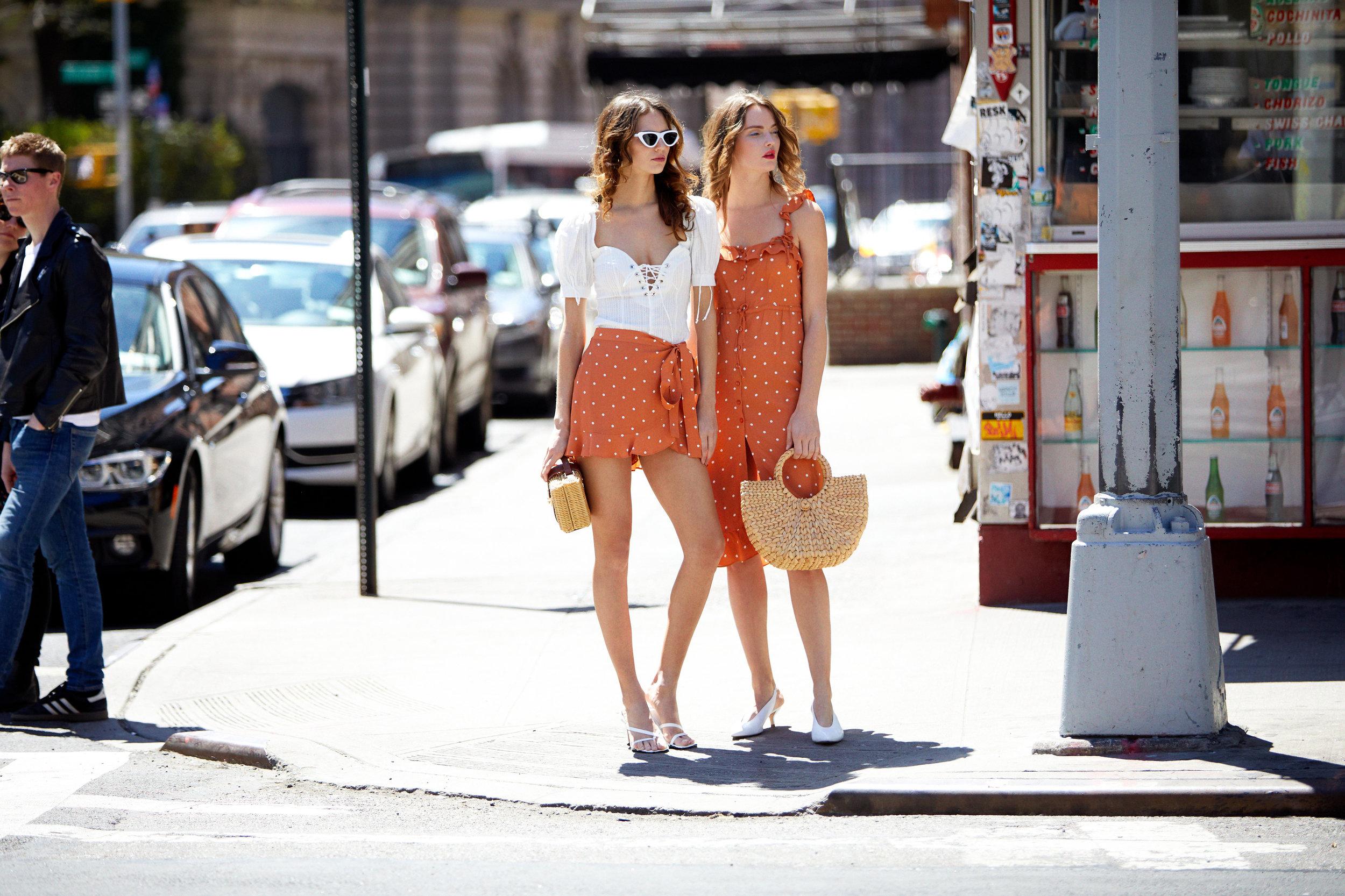 Left: Anabelle Lace Up Blouse & Natalia Polka Dot Skort - Copper Dot  Right: Natalia Polka Dot Midi Dress - Copper Dot & Half-Moon Straw Tote Bag
