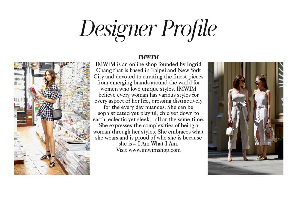 IMWIM British Vogue Oct Issue Designer Profile