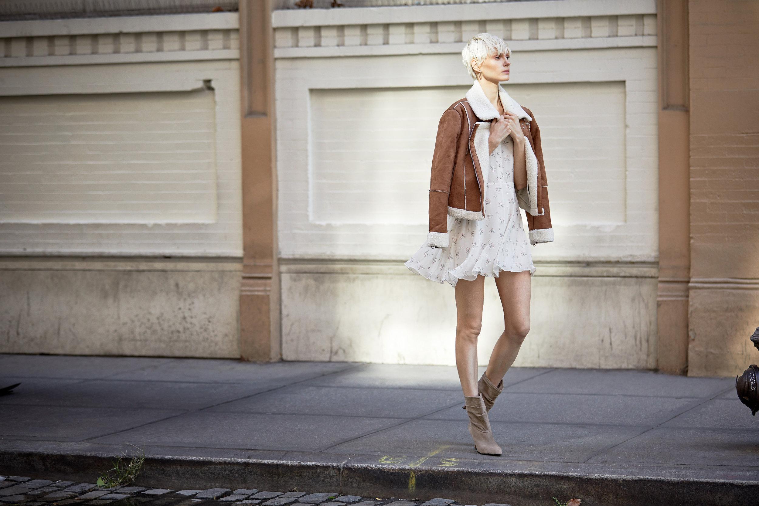 Quincy Suede Shearling Jacket & Cora Silk Floral Mini Dress - Shortbread