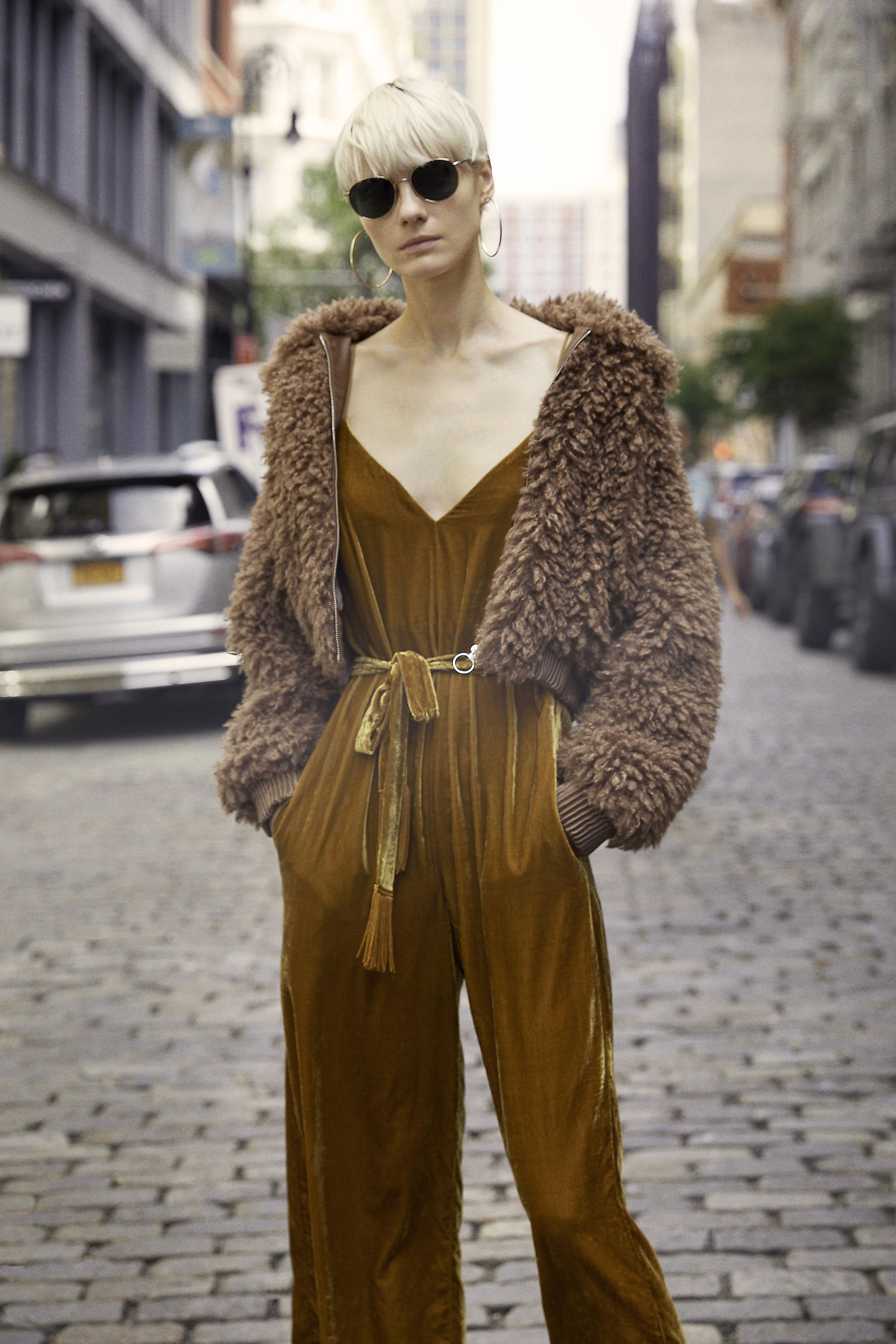 Phoenix Teddy Bear Jacket - Mocha & Hey Hey Hey Gold Velvet Jumpsuit