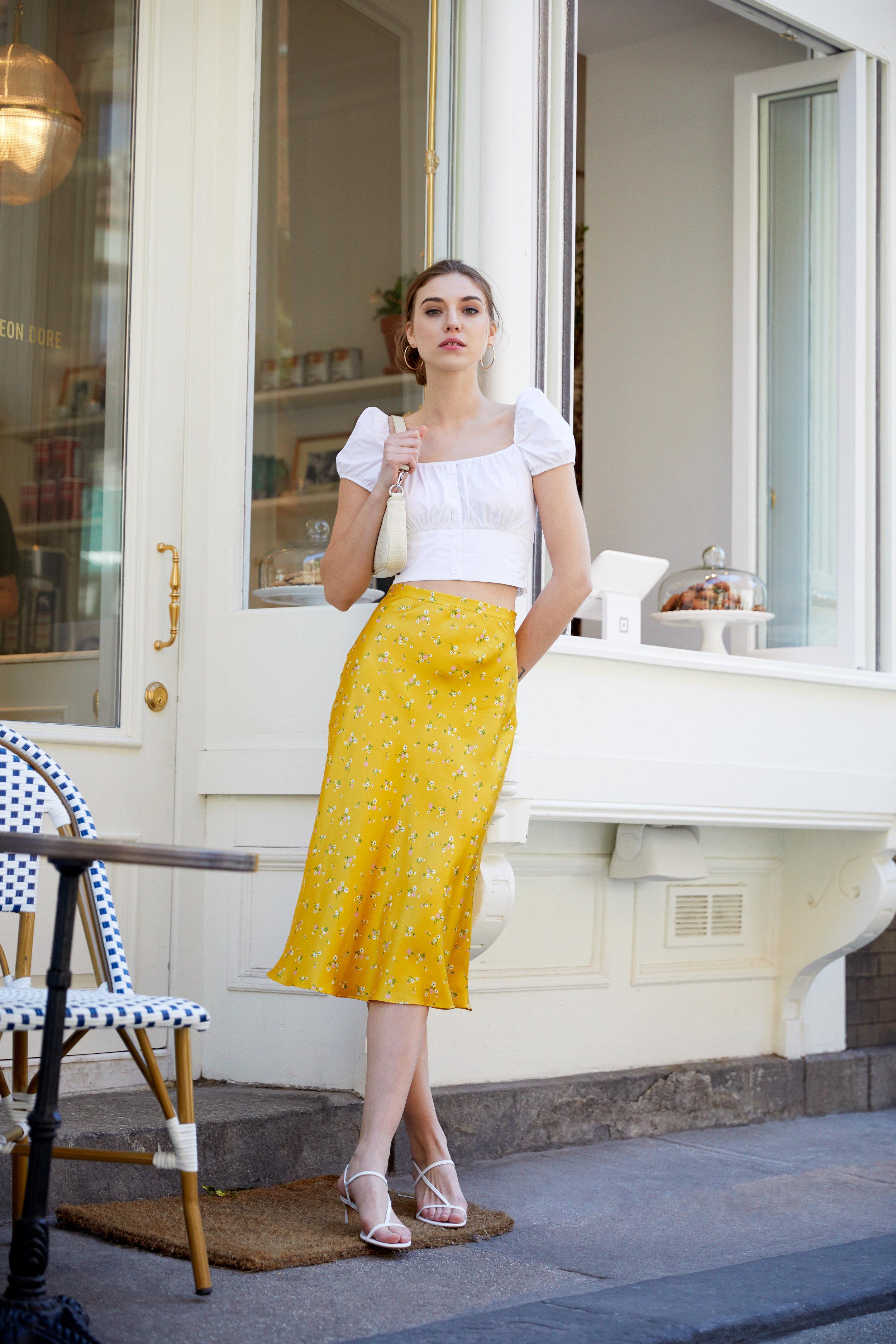 Only In Paris Floral Midi Skirt & Rachel Cream Croco Embossed Leather Bag