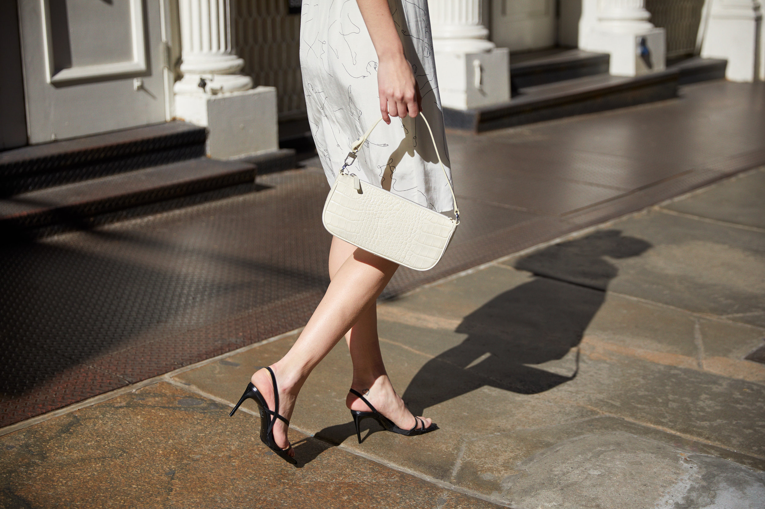 ASTR the Label Lois Wrap Mini Dress in Ballet Sketch & by FAR Rachel Cream Croco Embossed Leather Bag