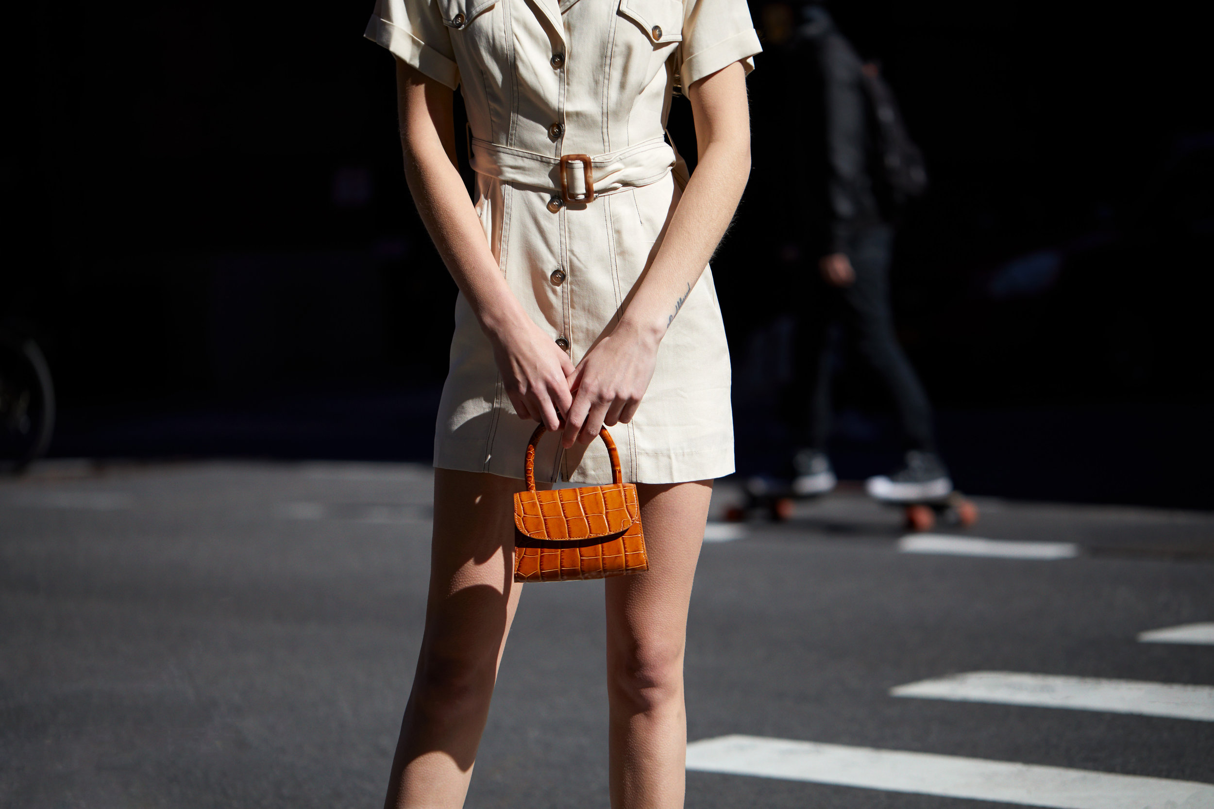 ASTR the Label Freehand Mini Dress With Topstitching - Natural & by FAR Mini Tan Croco Embossed Leather Bag