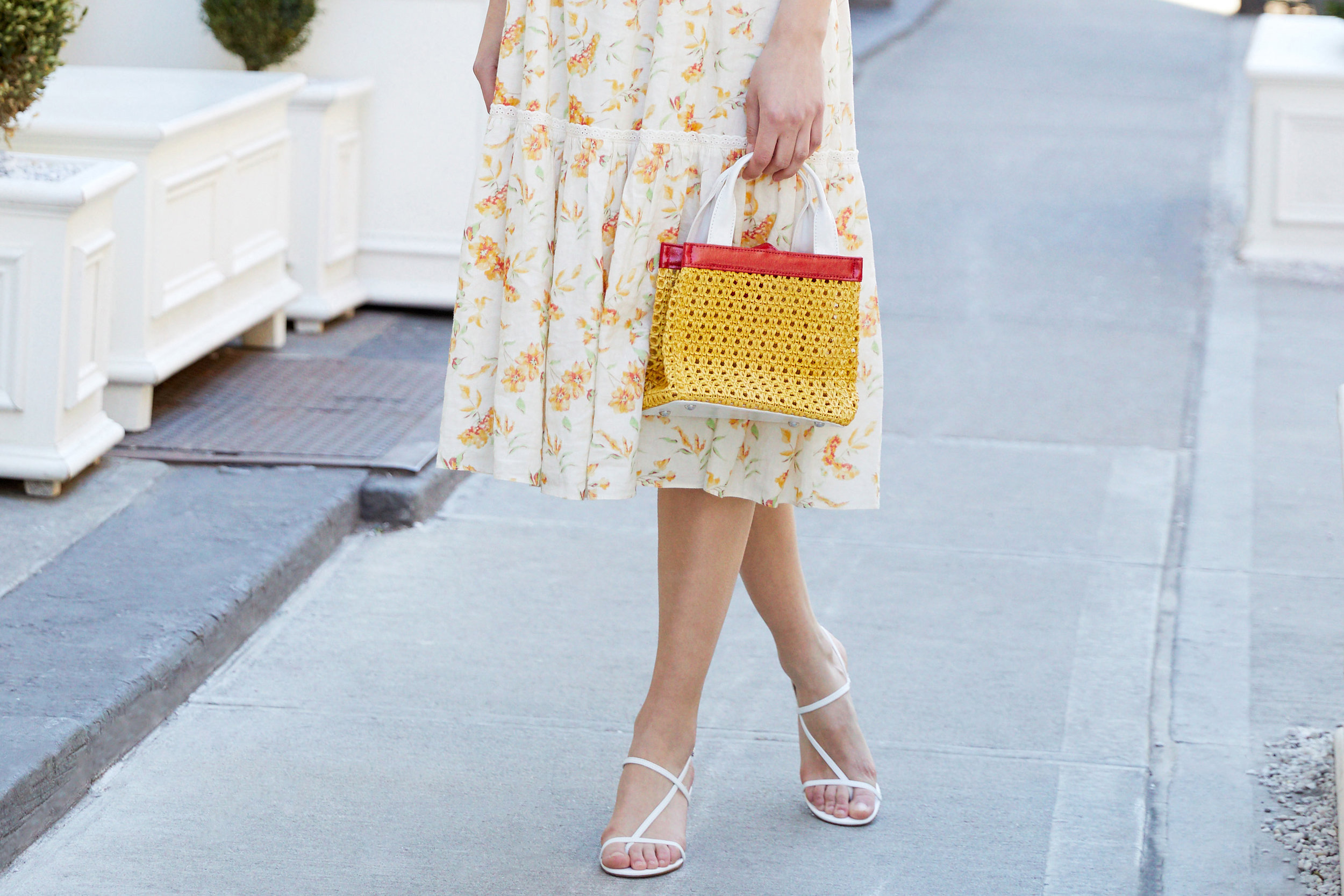 LoveShackFancy Ann Floral Midi Dress & Solid & Striped The Louisa Faux Leather Woven Mini Tote Bag - Yellow