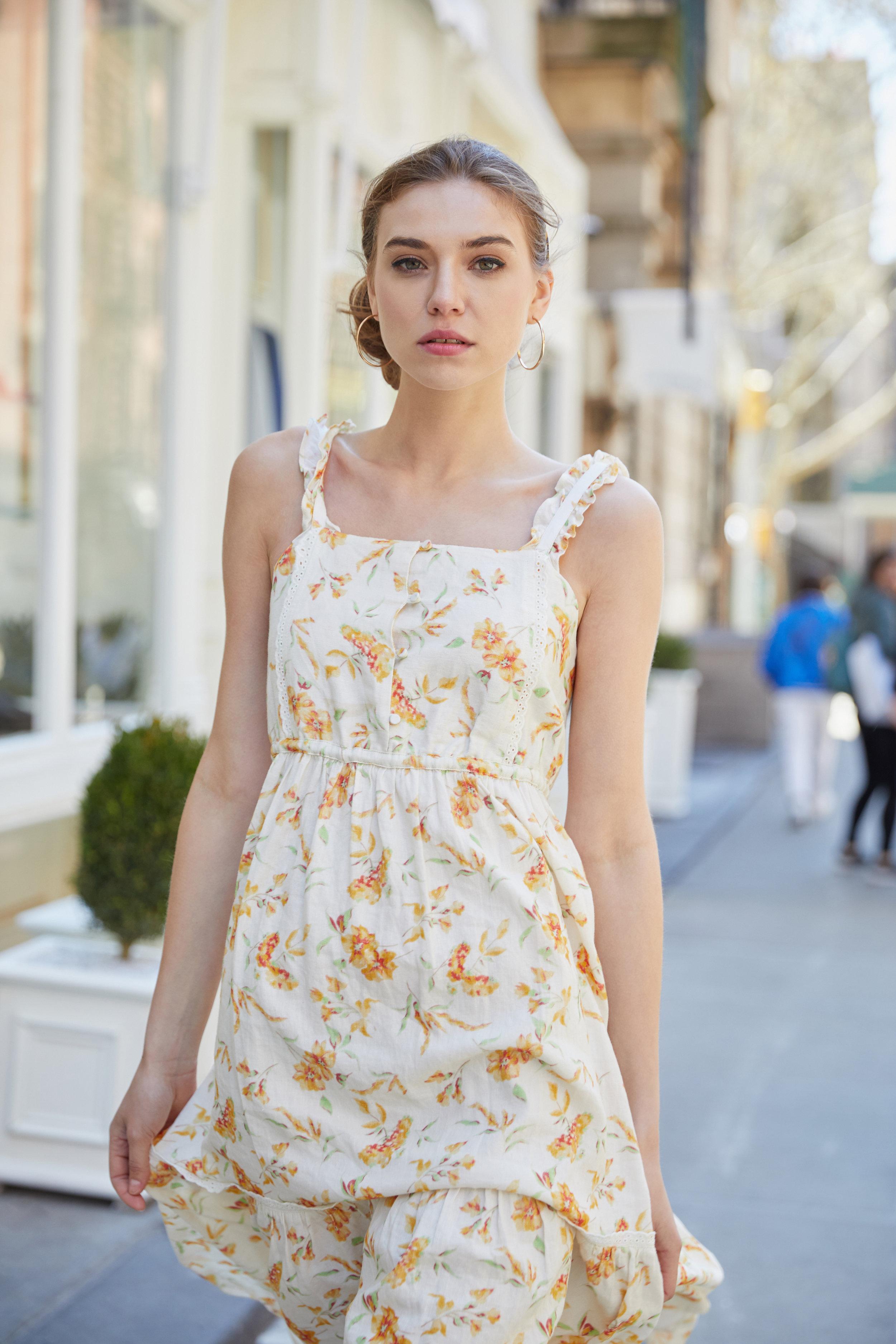 Ann Floral Midi Dress & The Louisa Faux Leather Woven Mini Tote Bag-Yellow