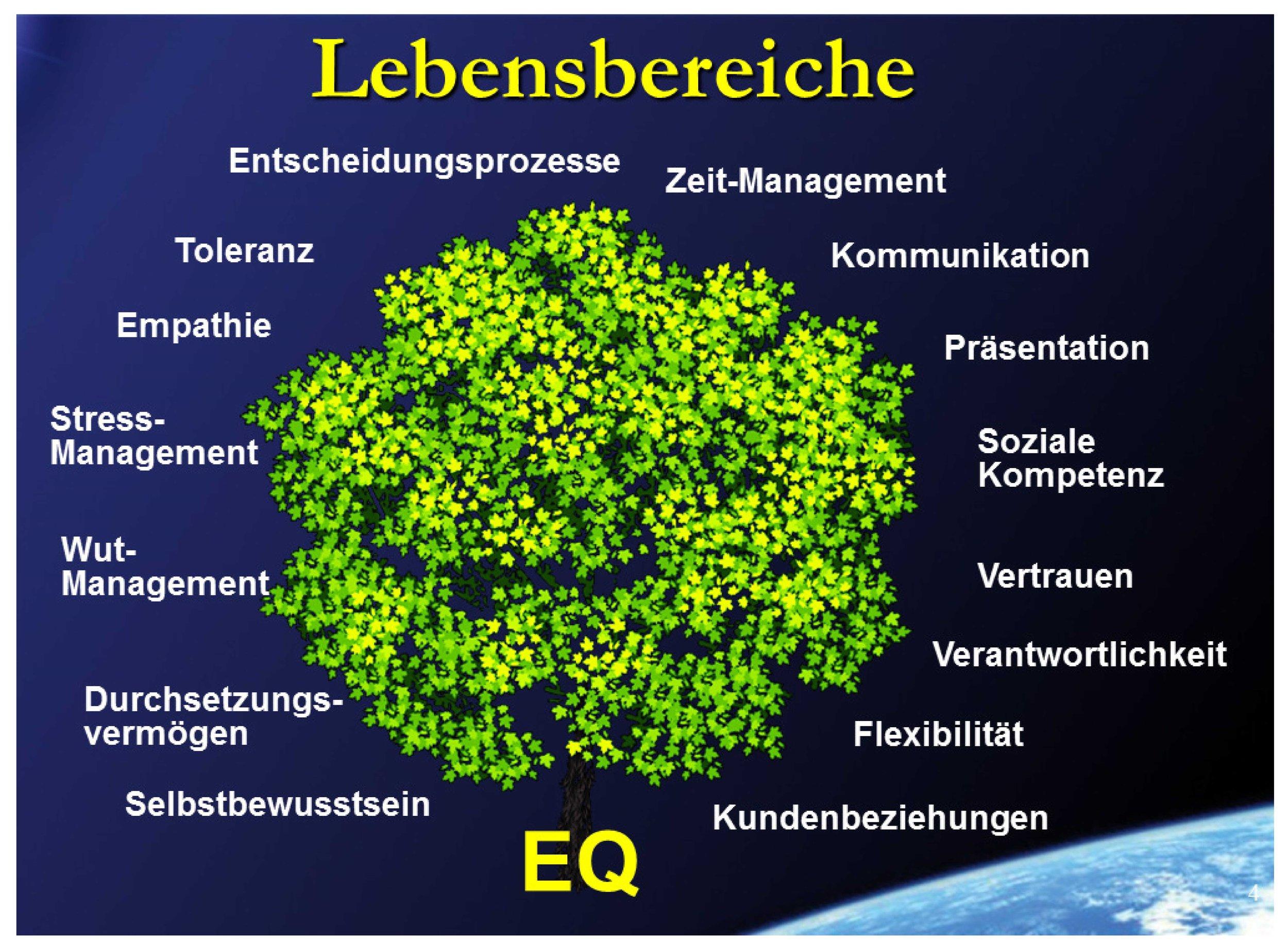 Es ist leicht erkennbar, dass EQ mit Beziehungen und deren Erfolg zu tun haben muss. Wer sich in diesen Bereichen beREICHert, der hat mehr vom Leben !!    Welches sind besonders IHRE Bereiche ?